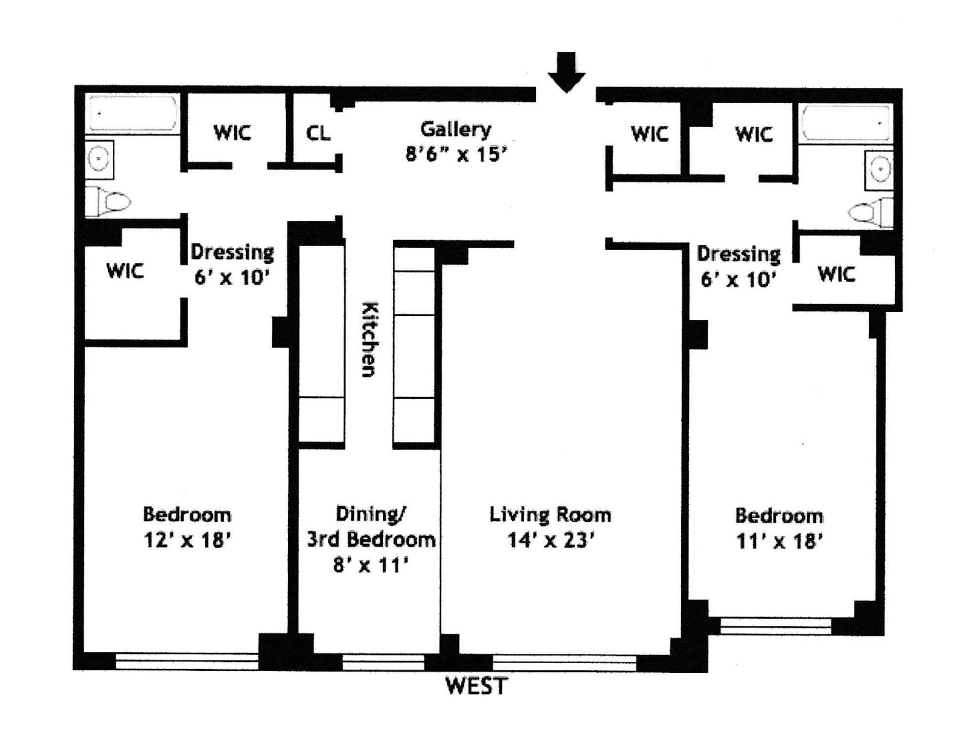 Floor plan of 200 East 57th St, 17N - Midtown, New York