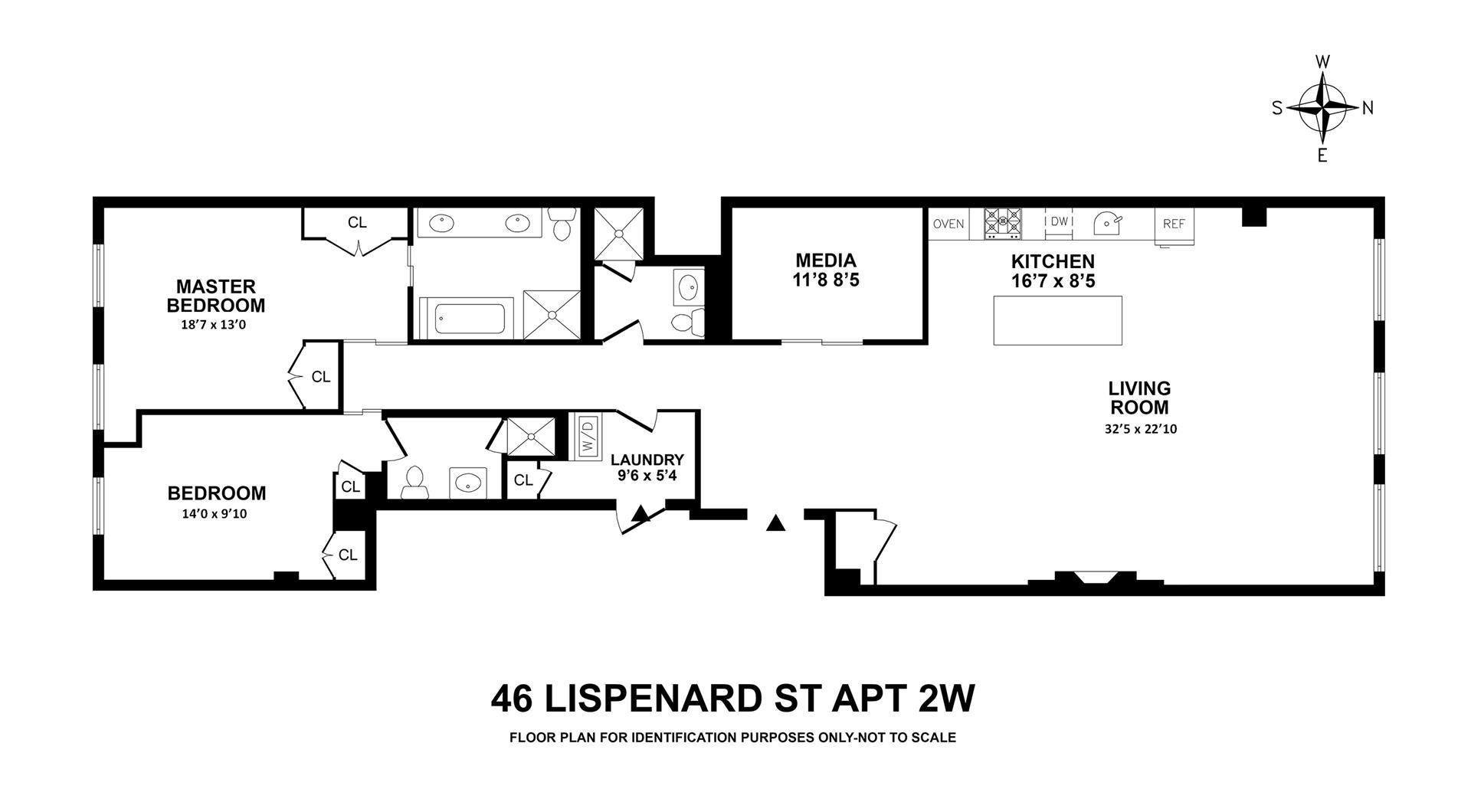 Floor plan of 46 Lispenard St, 2W - TriBeCa, New York