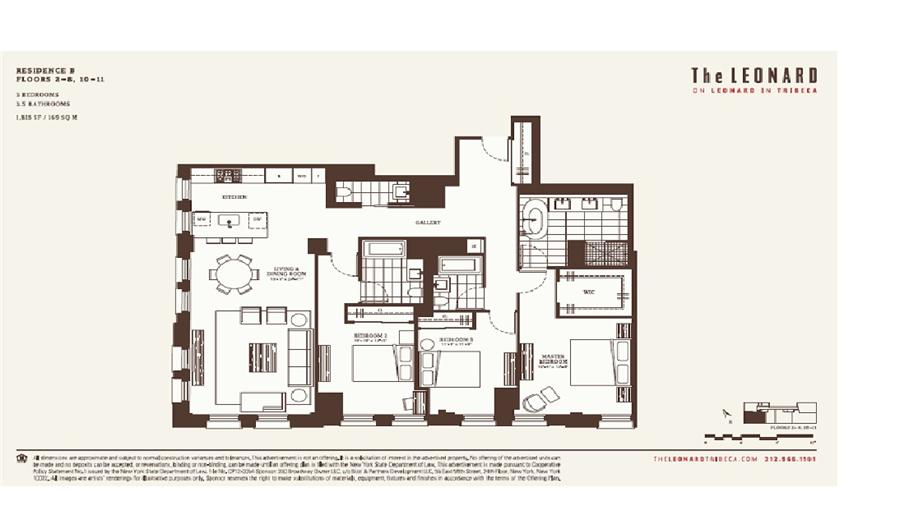 Floor plan of The Leonard, 101 Leonard Street, 5B - TriBeCa, New York