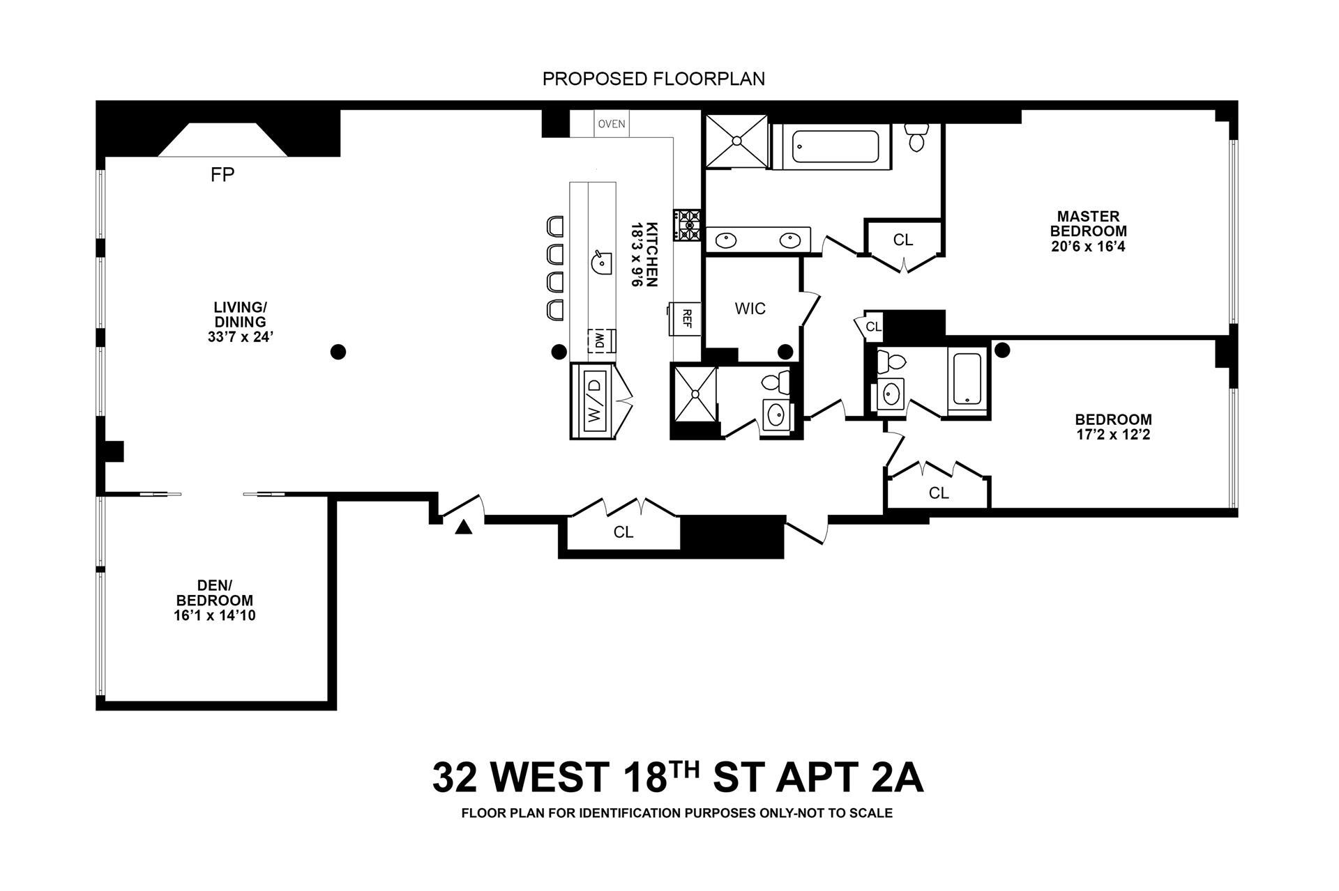 Floor plan of 32 West 18th St, 2A - Flatiron District, New York