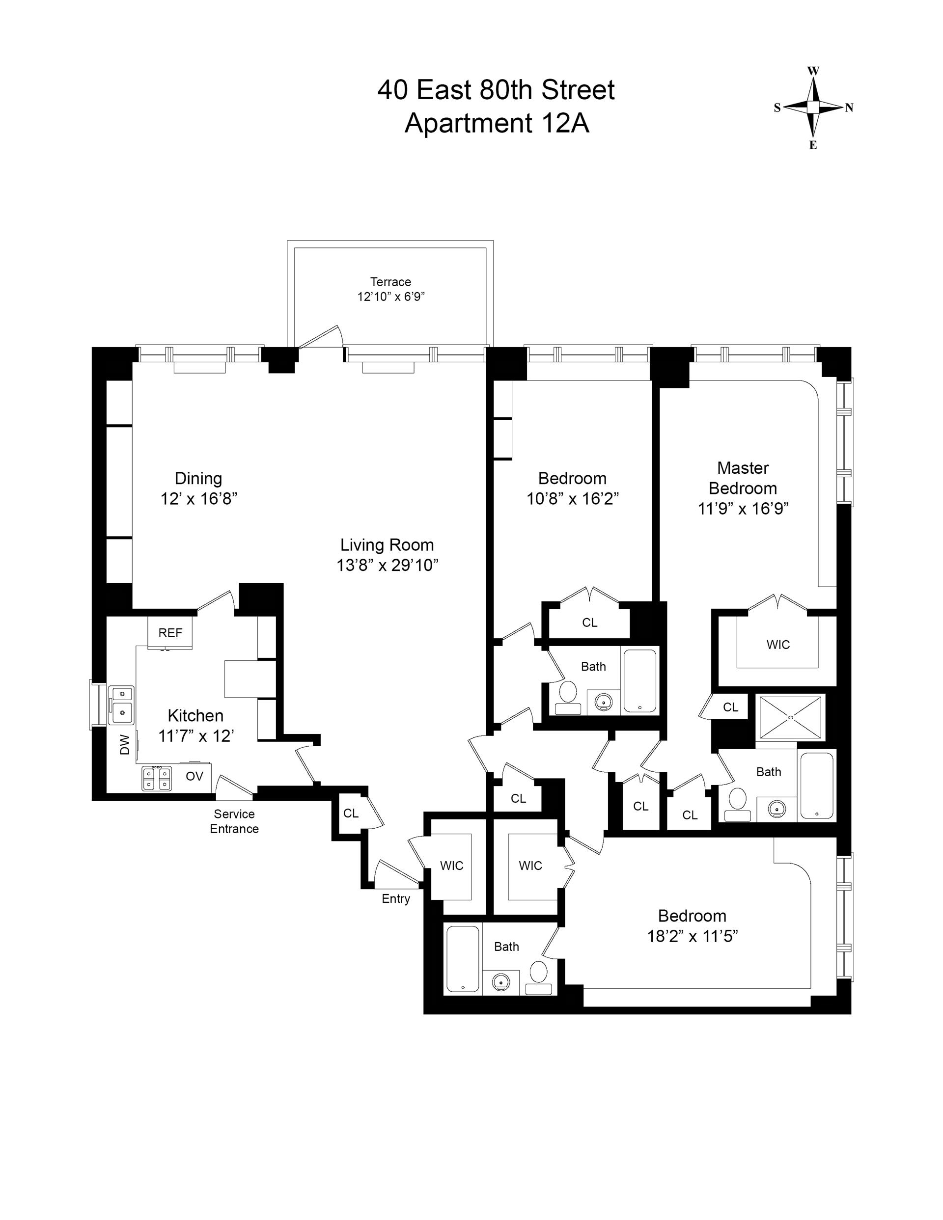 Floor plan of 40 East 80 Apartment Corp, 40 East 80th St, 12A - Upper East Side, New York