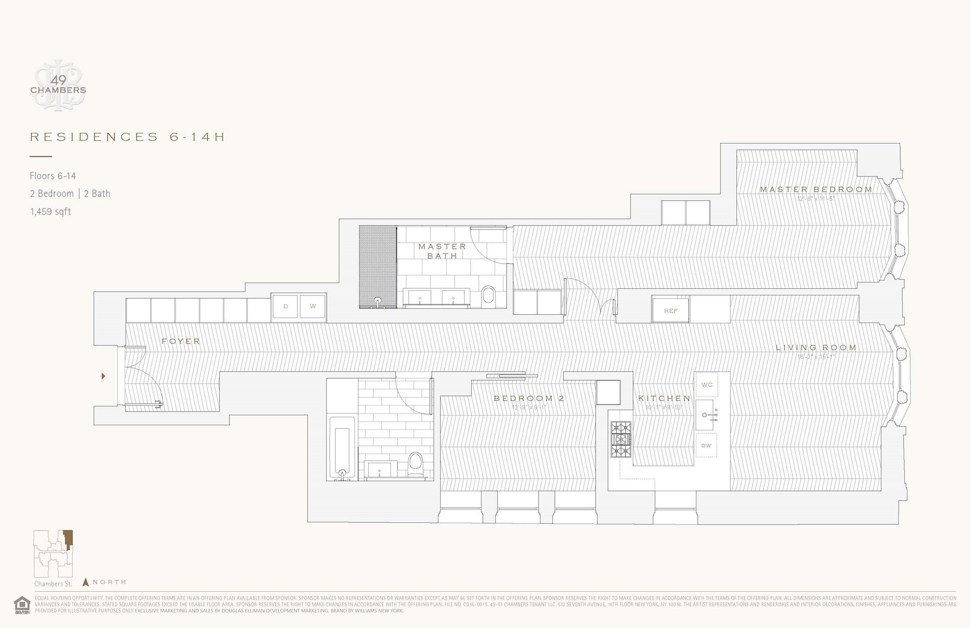 Floor plan of 49 Chambers St, 6H - TriBeCa, New York