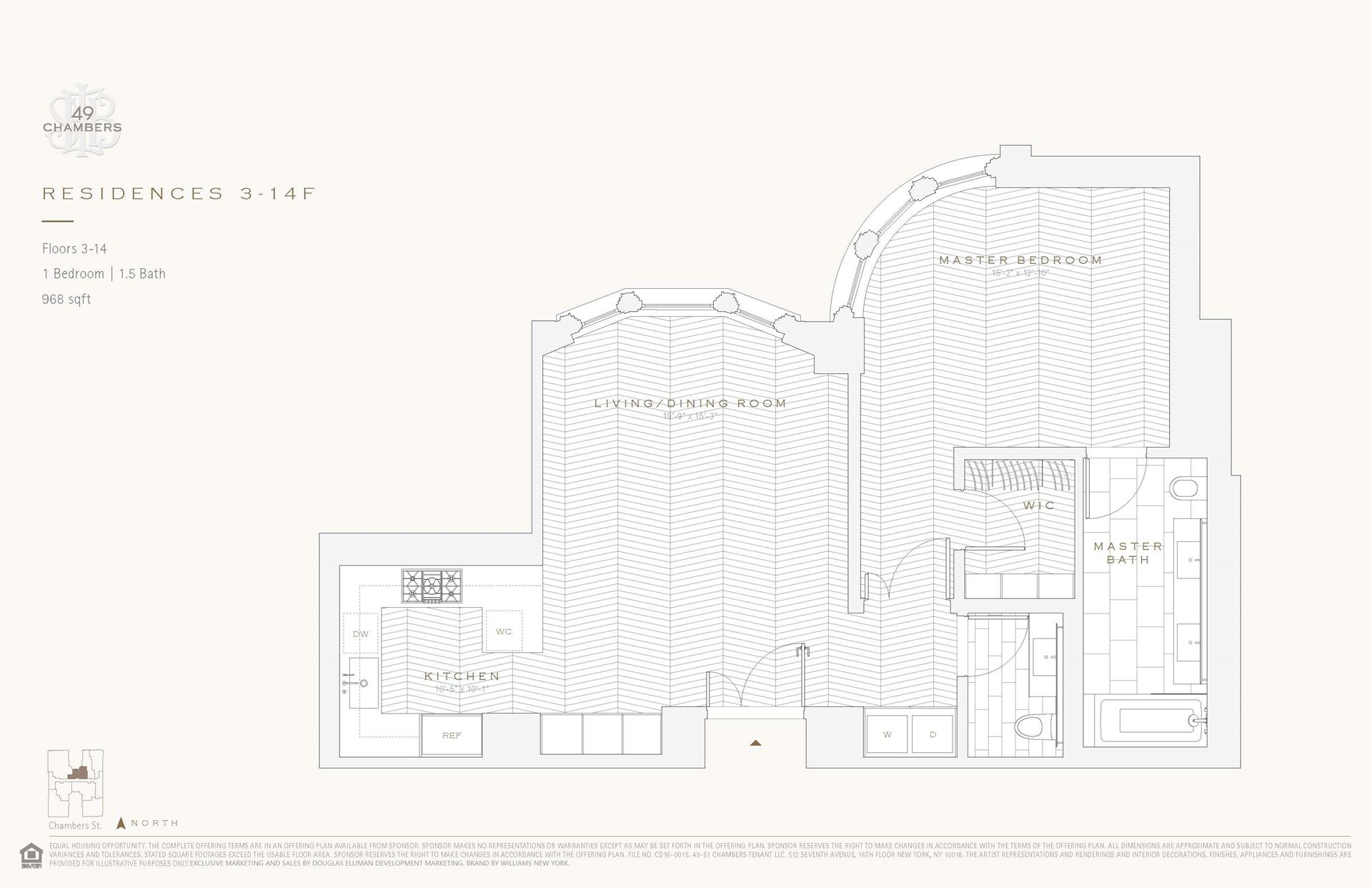 Floor plan of 49 Chambers St, 4F - TriBeCa, New York