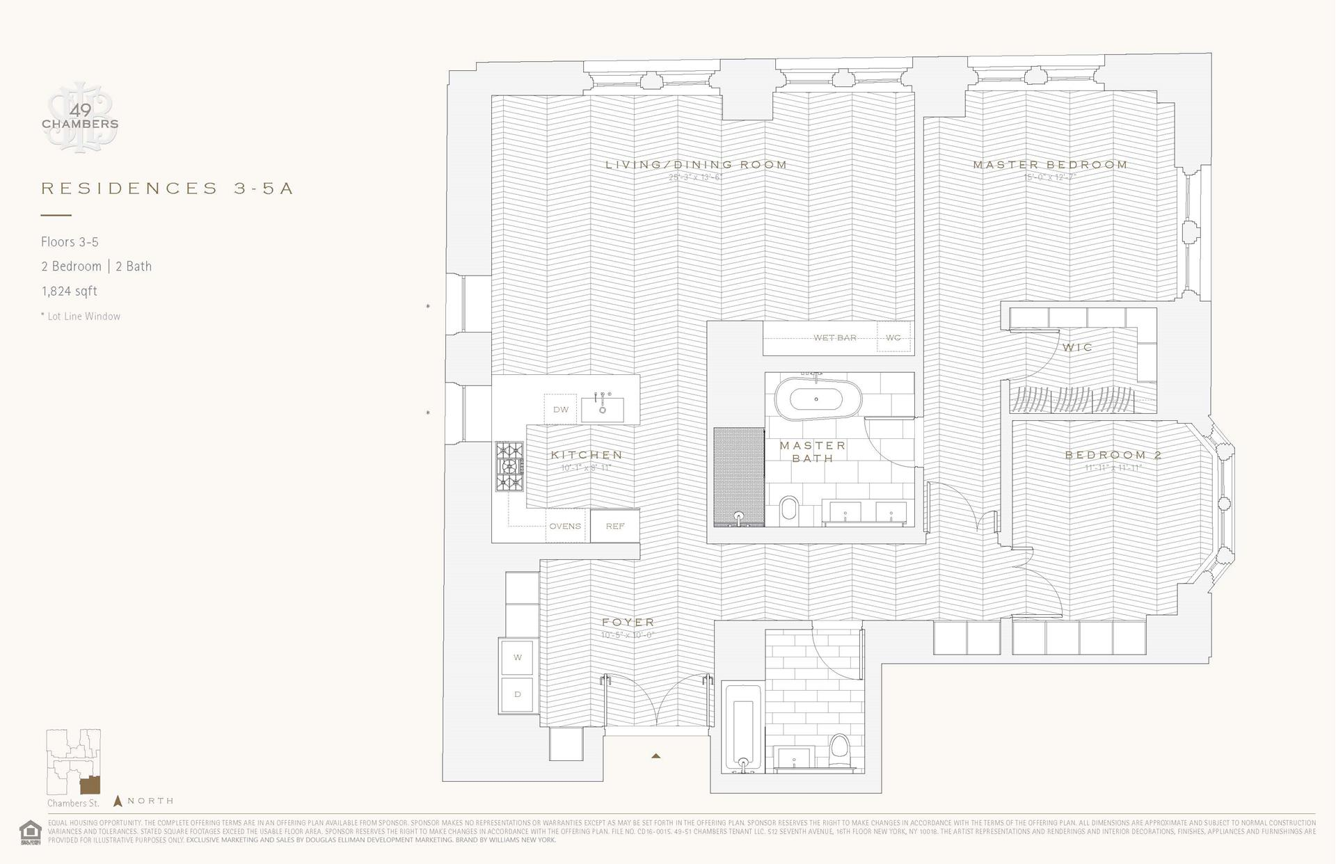 Floor plan of 49 Chambers St, 3A - TriBeCa, New York