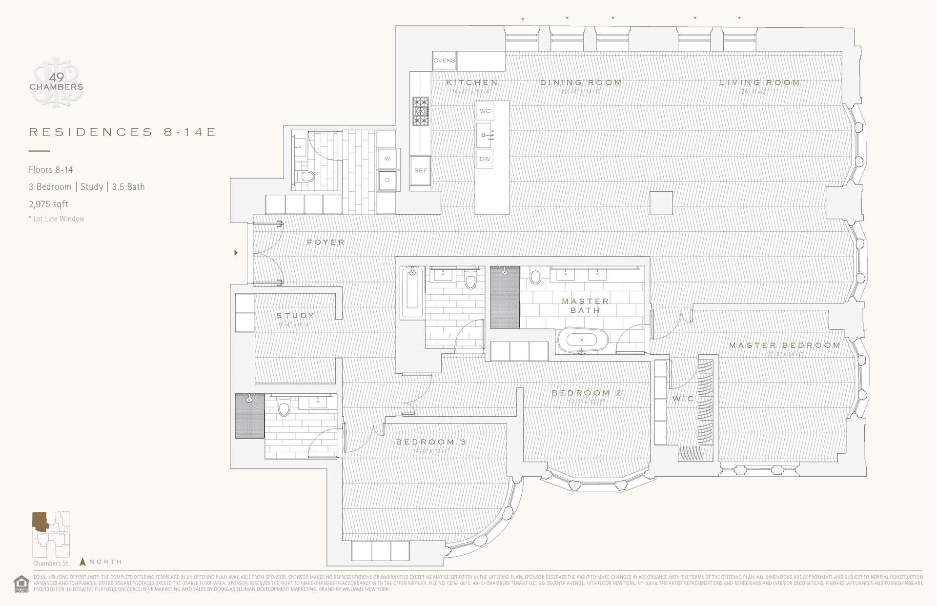 Floor plan of 49 Chambers St, 9E - TriBeCa, New York