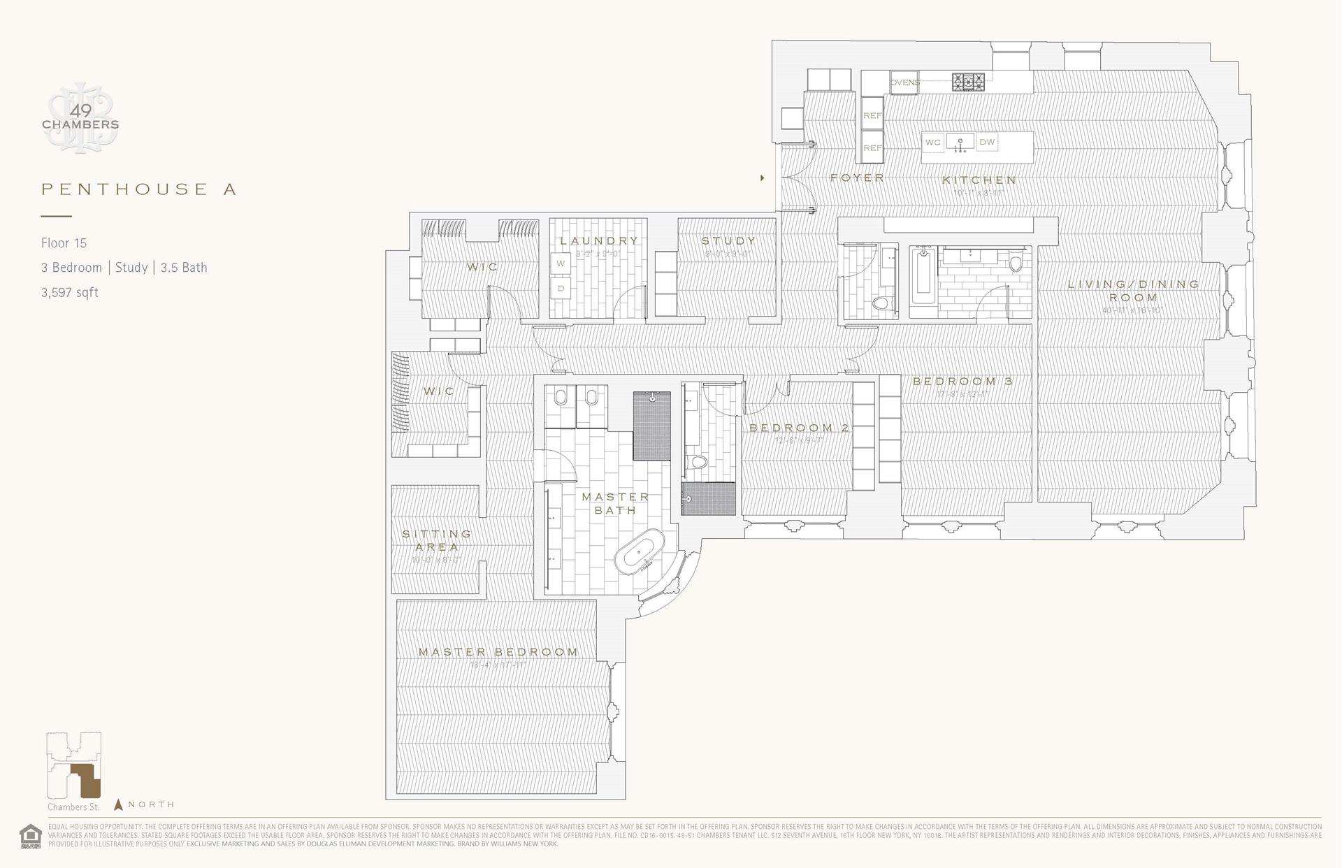 Floor plan of 49 Chambers St, PHA - TriBeCa, New York