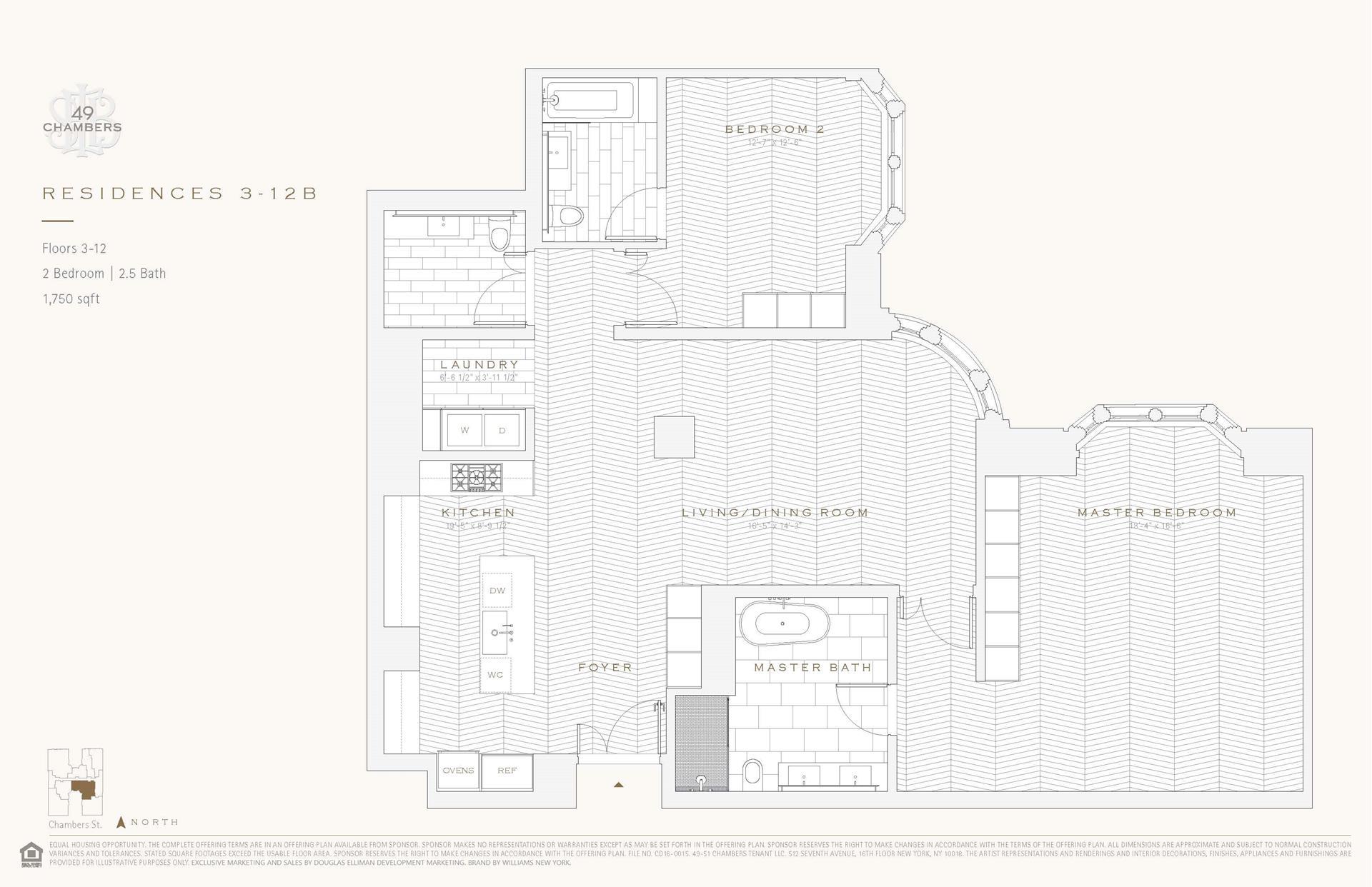 Floor plan of 49 Chambers St, 5B - TriBeCa, New York
