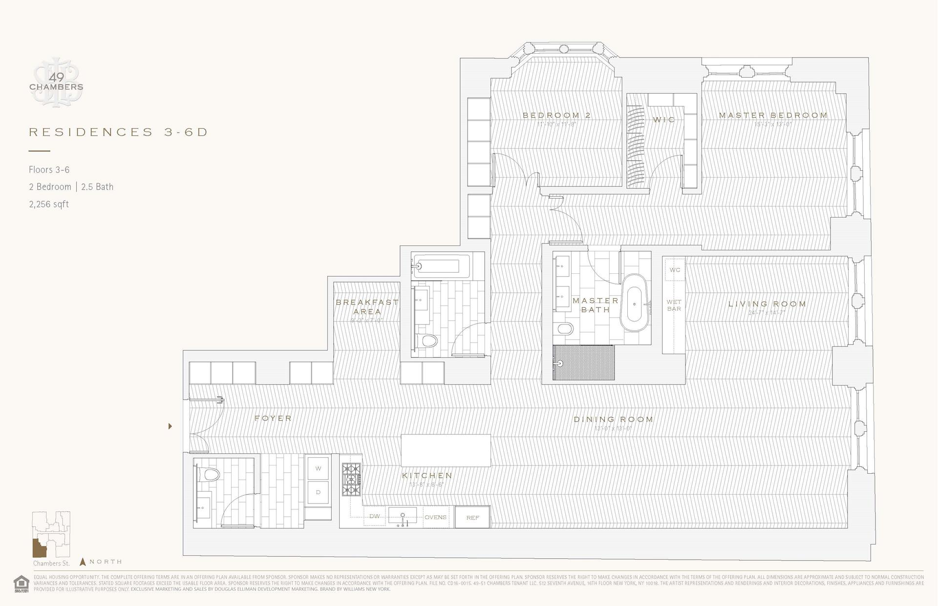 Floor plan of 49 Chambers St, 6D - TriBeCa, New York