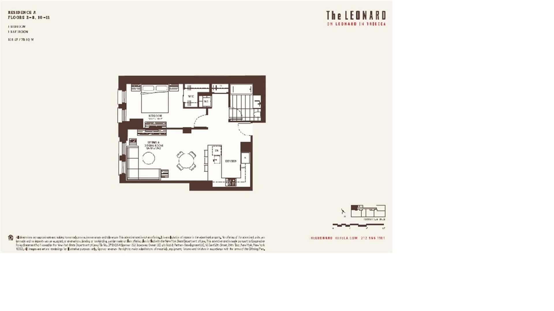 Floor plan of 101 Leonard St, 3A - TriBeCa, New York