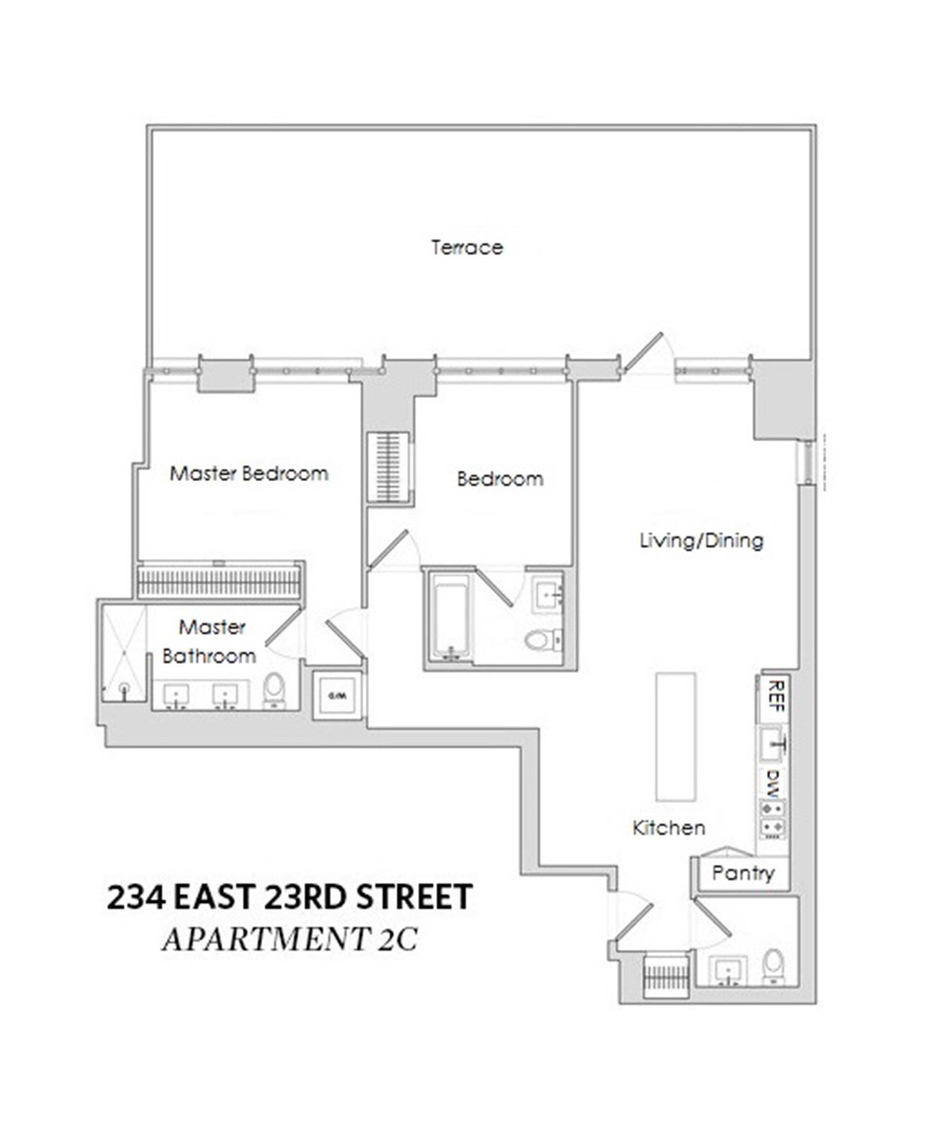 Floor plan of 234 East 23rd St, 2C - Gramercy - Union Square, New York
