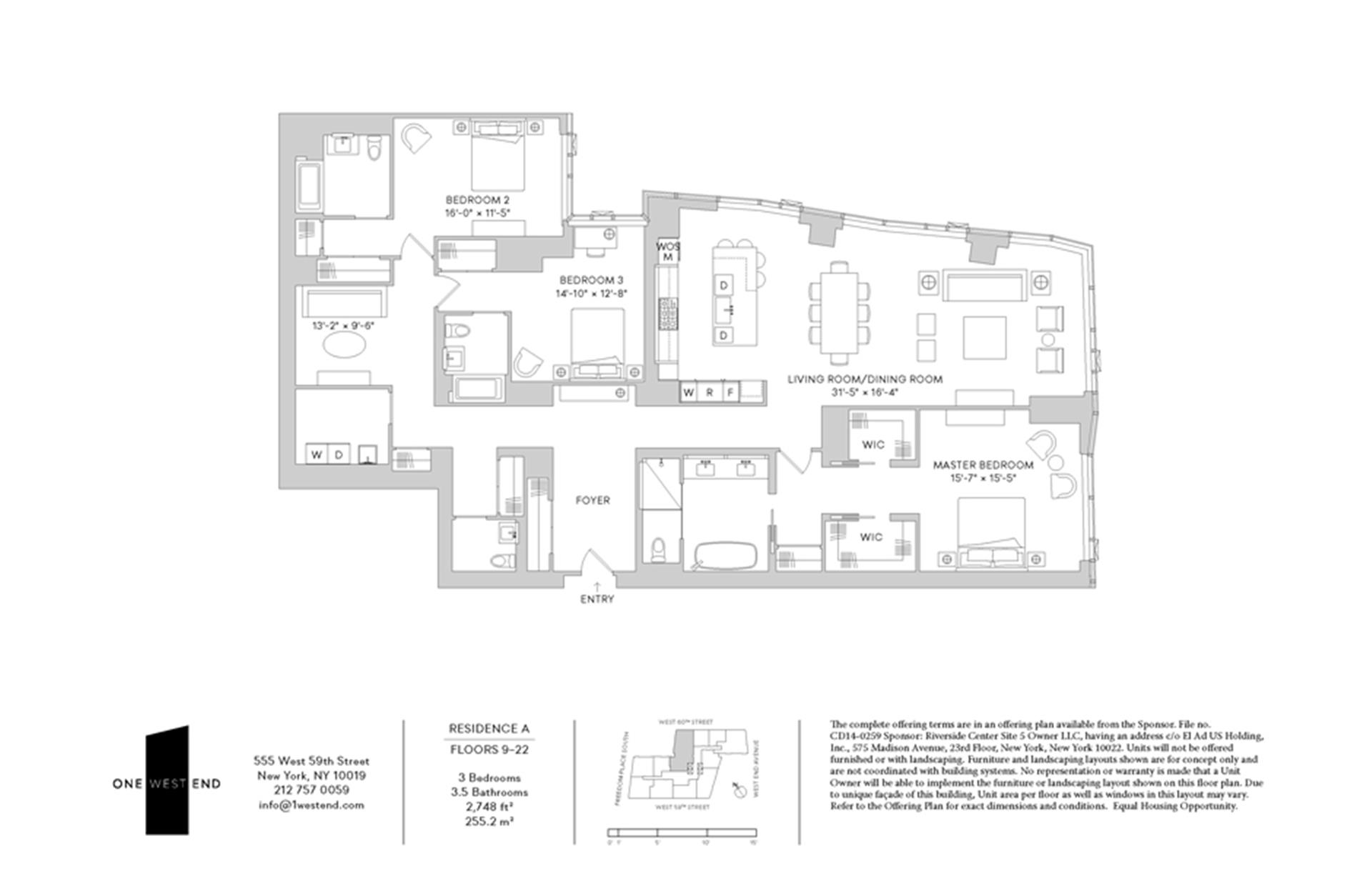 Floor plan of One West End, 1 West End Avenue, 15A - Upper West Side, New York