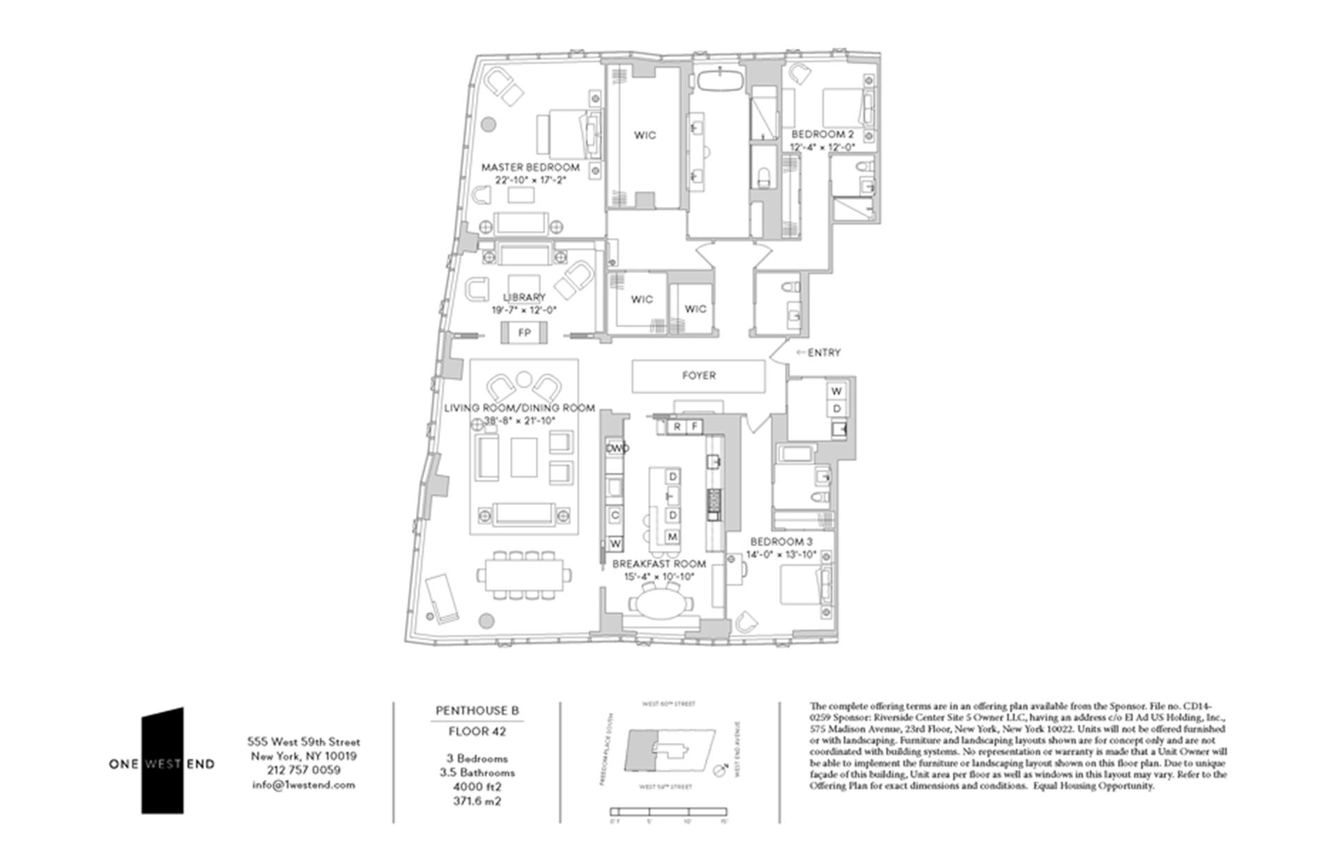Floor plan of One West End, 1 West End Avenue, PHB - Upper West Side, New York