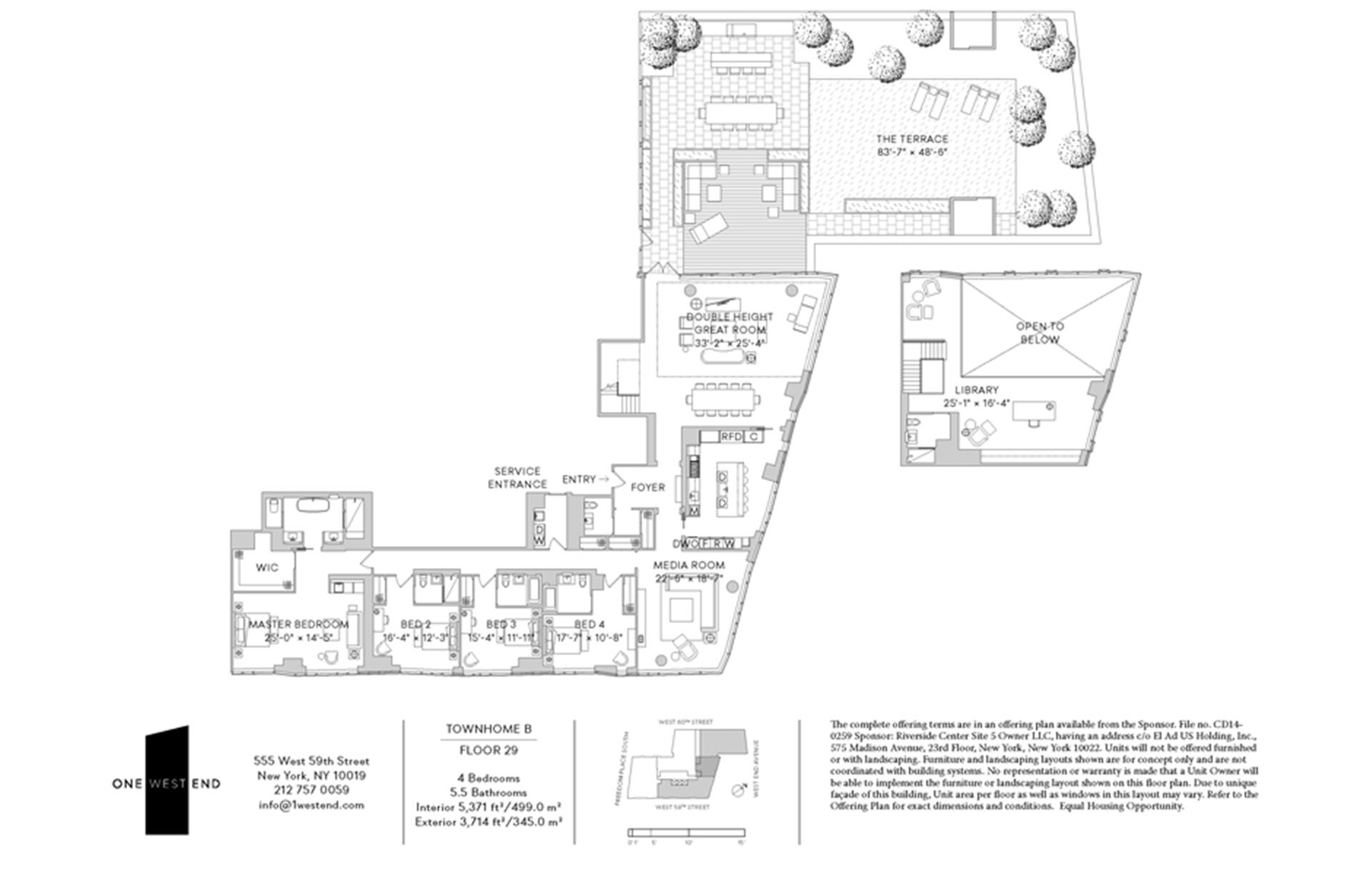 Floor plan of One West End, 1 West End Avenue, 29B - Upper West Side, New York