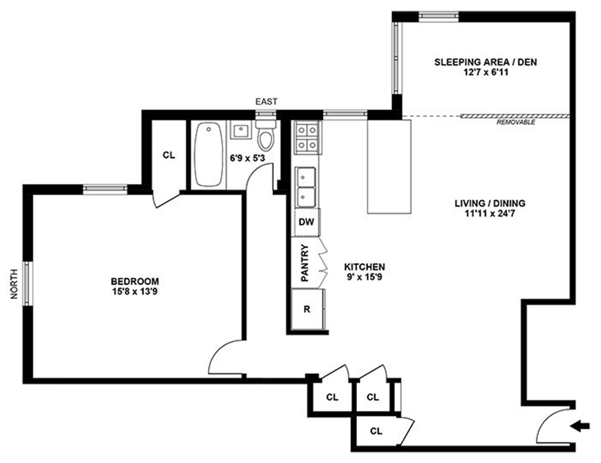 Floor plan of 811 Cortelyou Rd, 6F - Kensington, New York