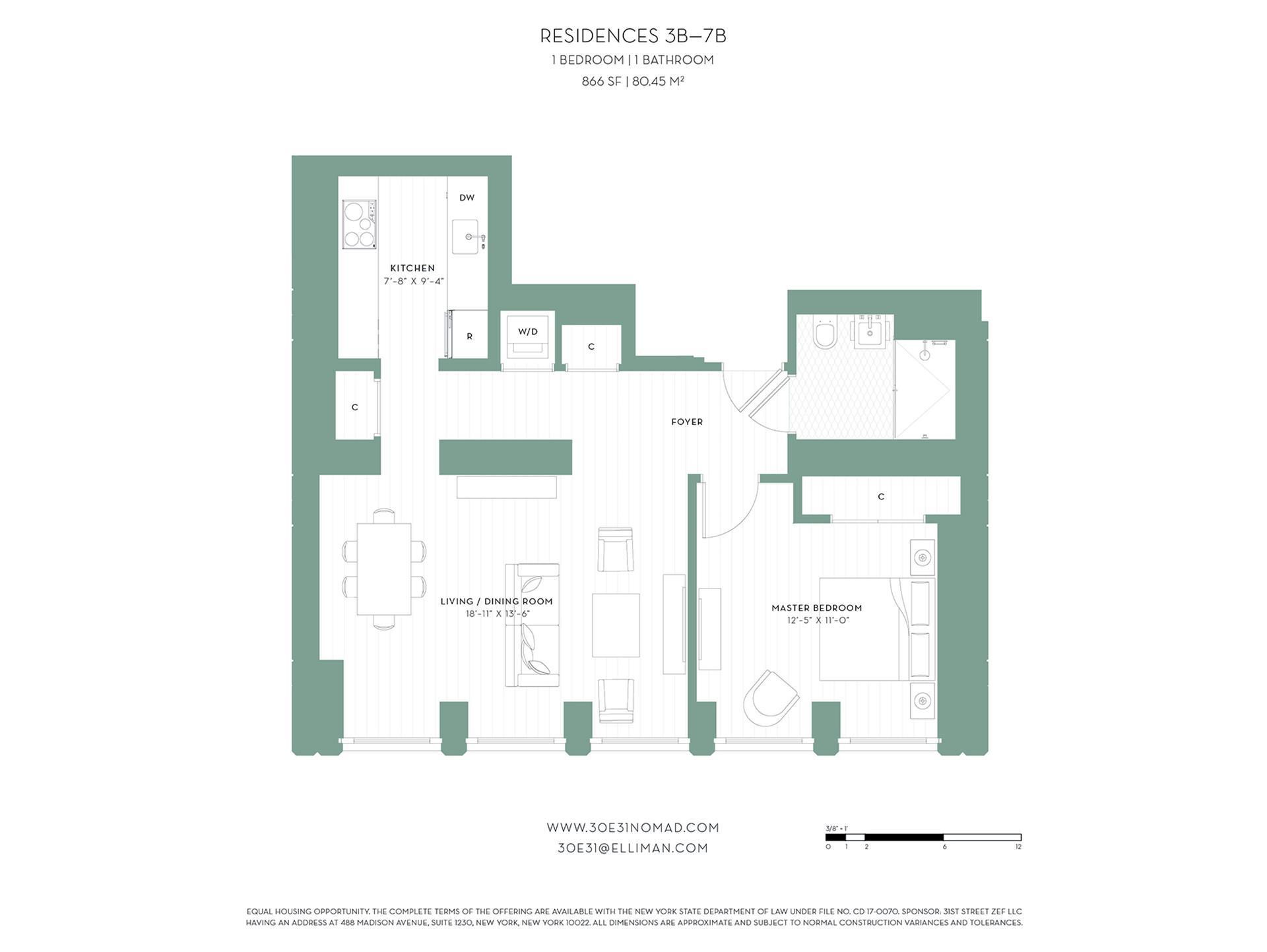 Floor plan of 30 East 31st St, 7B - Midtown, New York