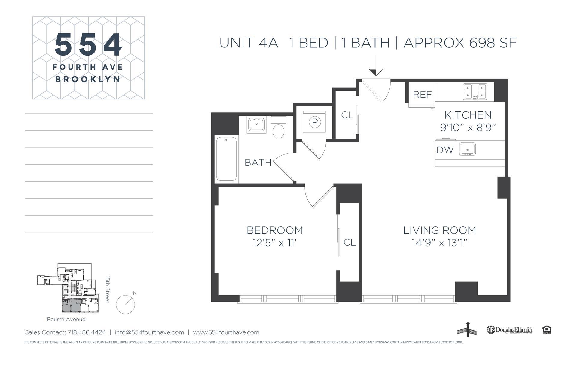 Floor plan of 554 Fourth Avenue, 4A - Gowanus, New York