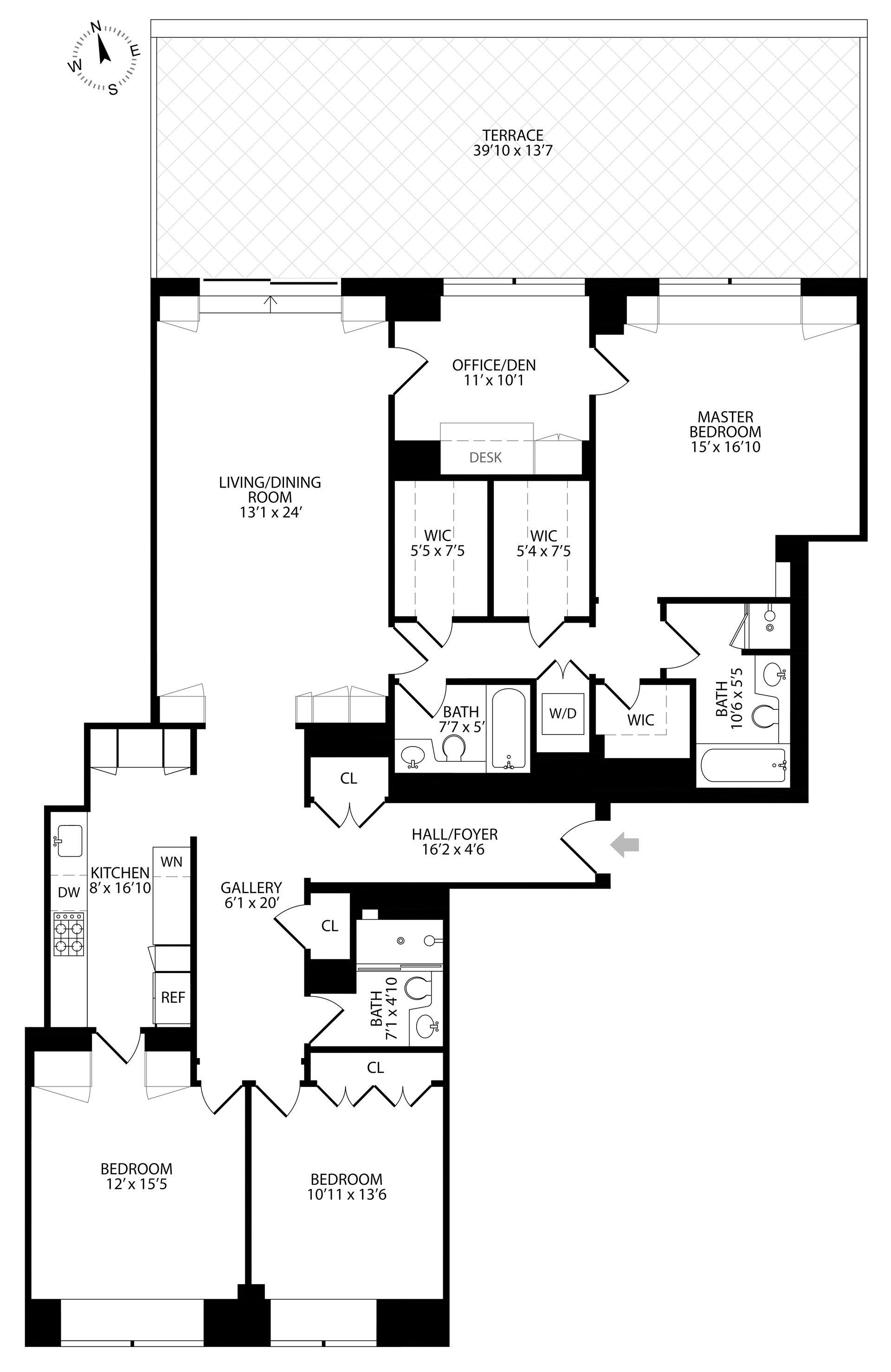 Floor plan of 120 East 87th St, R10L - Carnegie Hill, New York