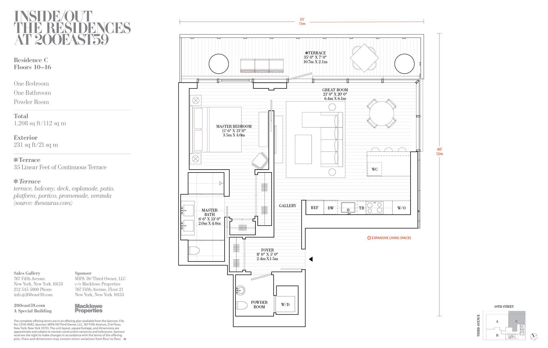 Floor plan of 200 East 59th St, 14C - Midtown, New York