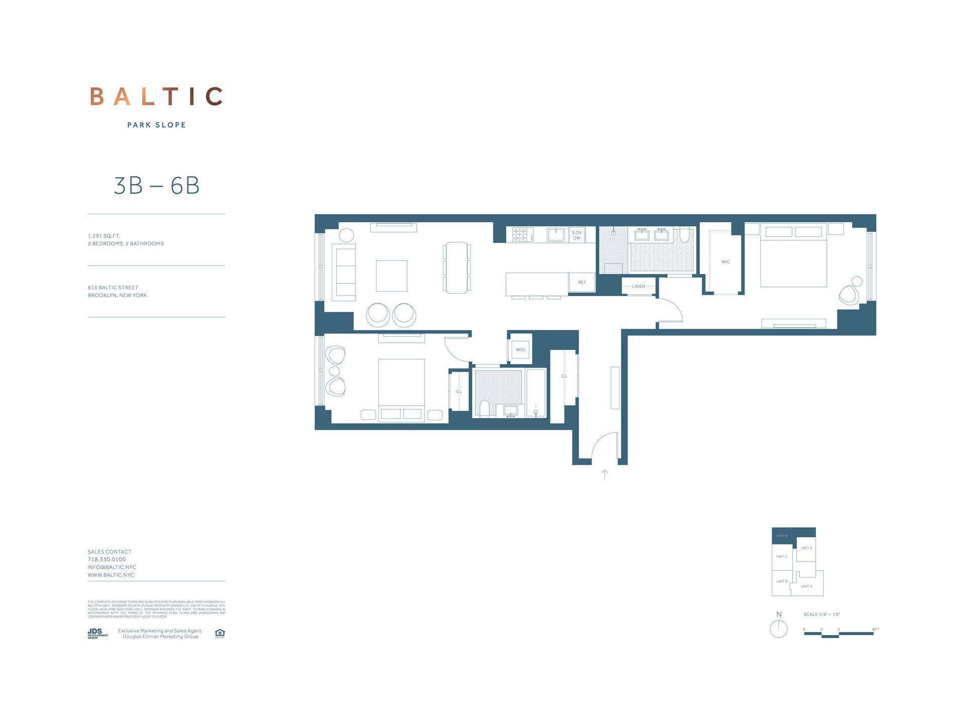 Floor plan of 613 Baltic St, 3B - Park Slope, New York