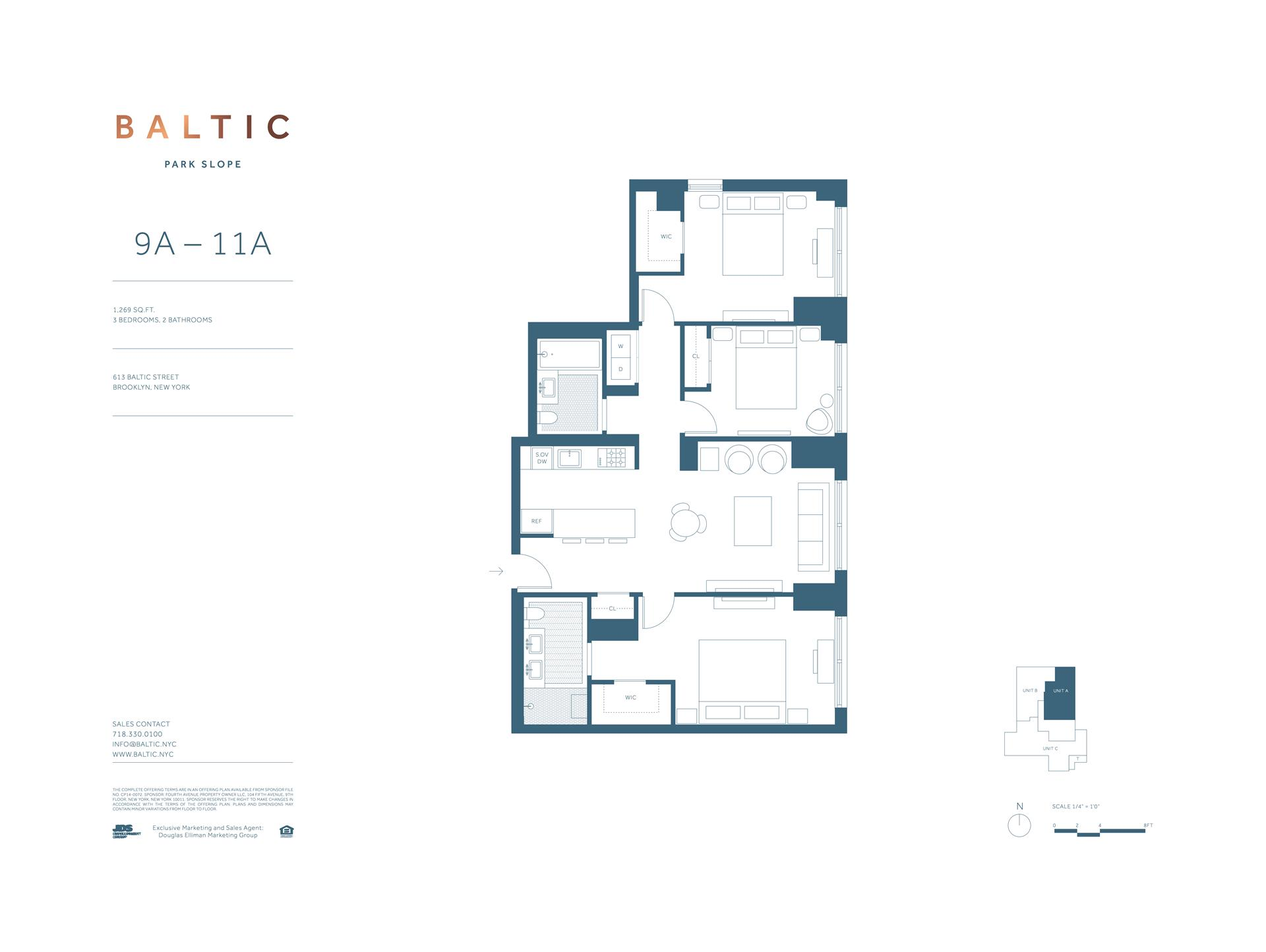 Floor plan of 613 Baltic St, 10A - Park Slope, New York
