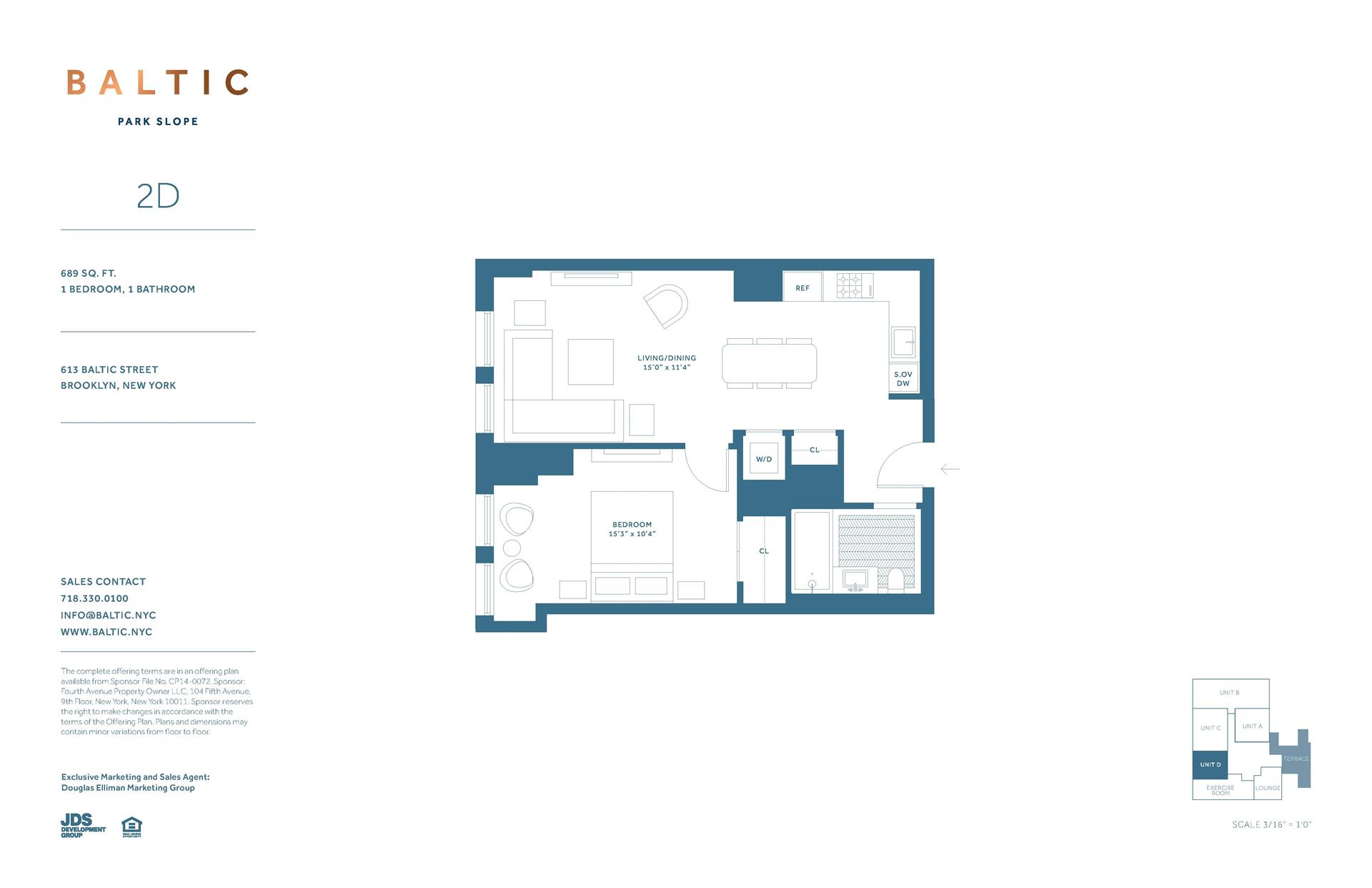 Floor plan of 613 Baltic St, 2D - Park Slope, New York