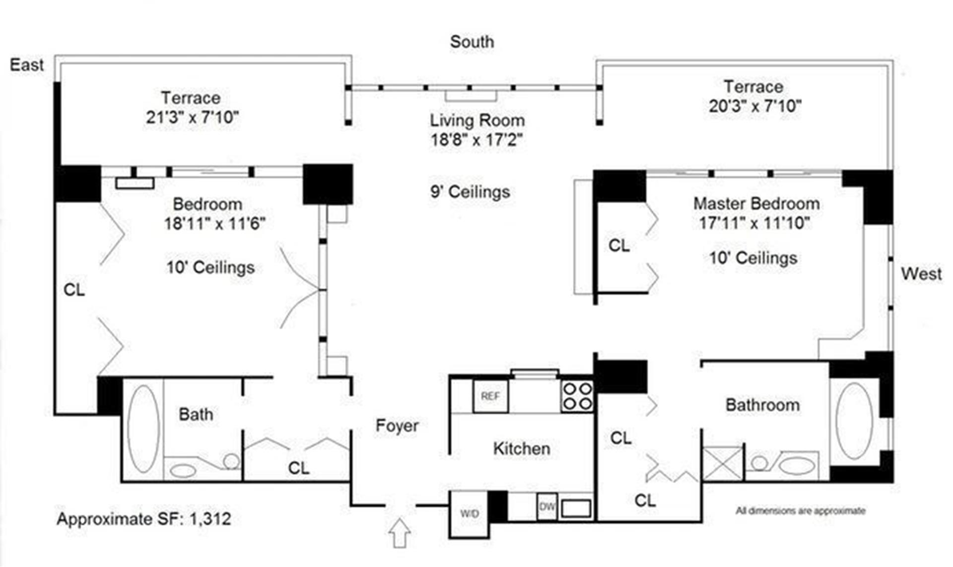 Floor plan of OXFORD CONDO, 422 East 72nd St, 36C - Upper East Side, New York