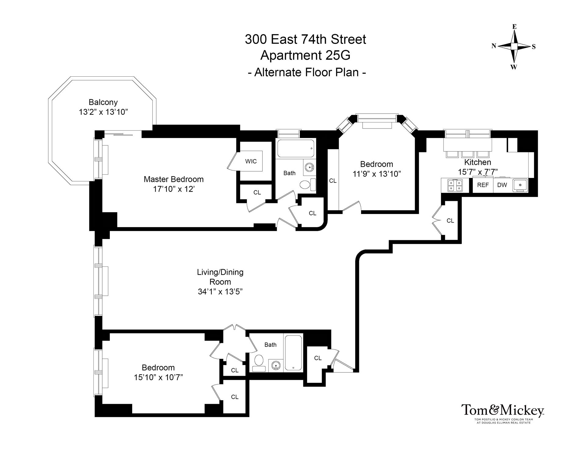 Floor plan of 300 East 74 St Owners Corp., 300 East 74th St, 25G - Upper East Side, New York