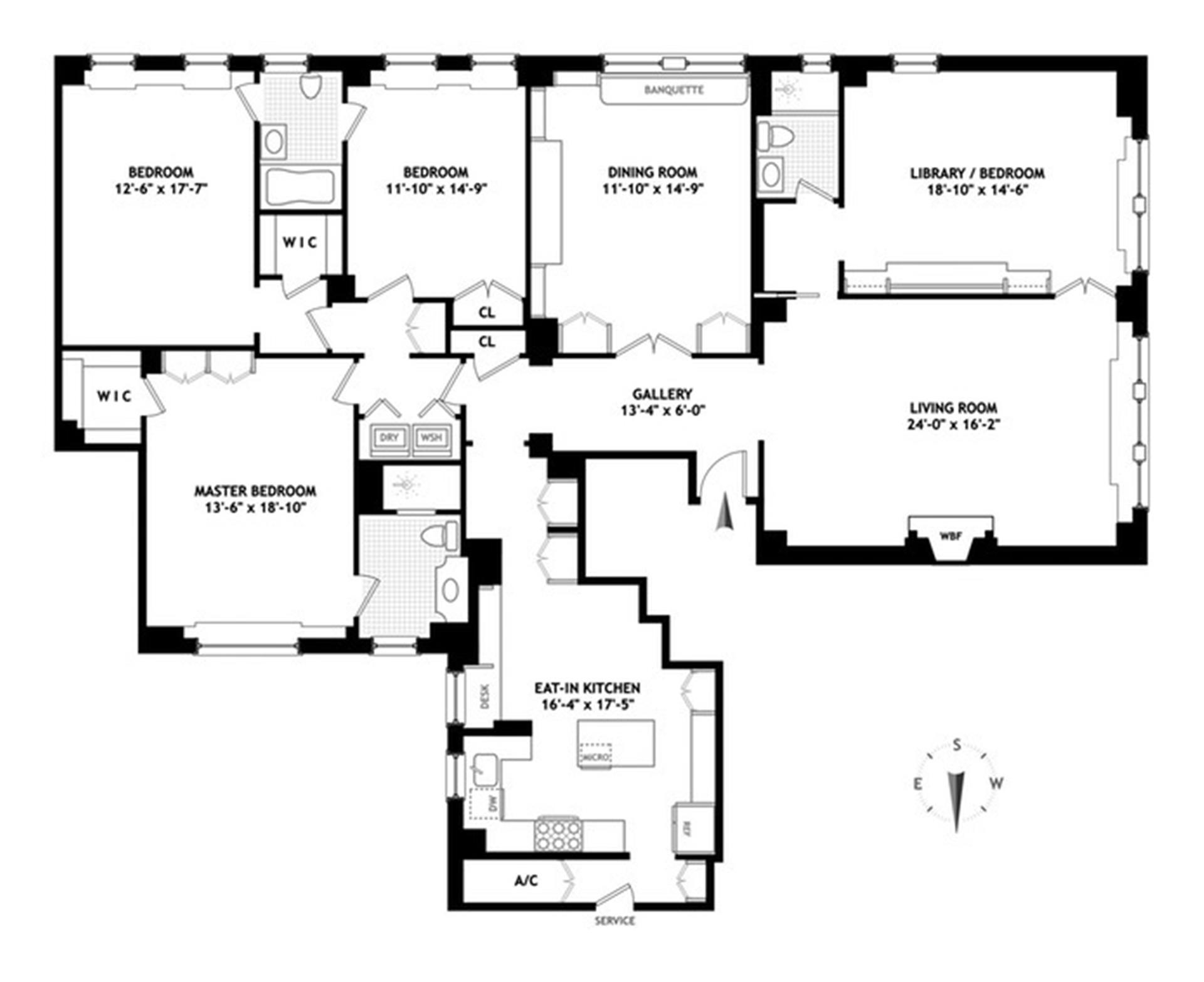 Floor plan of 1105 Park Avenue, 2A - Upper East Side, New York