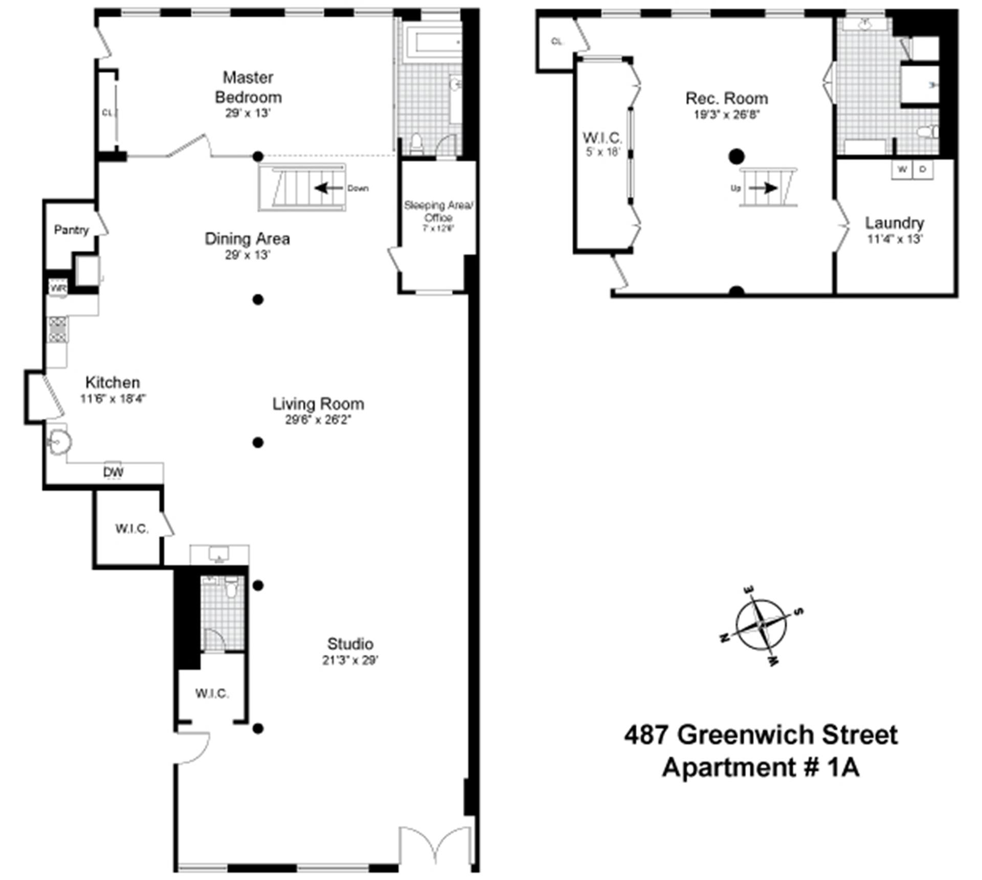 Floor plan of 487 Greenwich St, 1A - SoHo - Nolita, New York