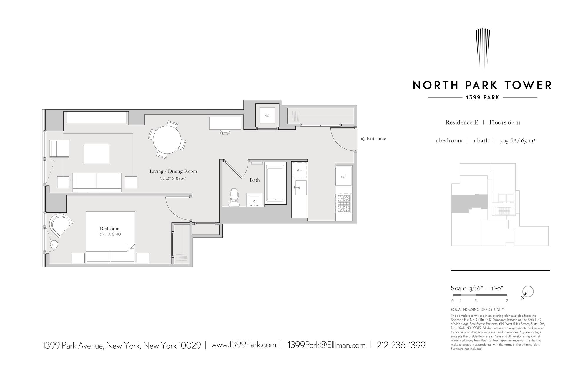 Floor plan of North Park Tower, 1399 Park Avenue, 6E - East Harlem, New York