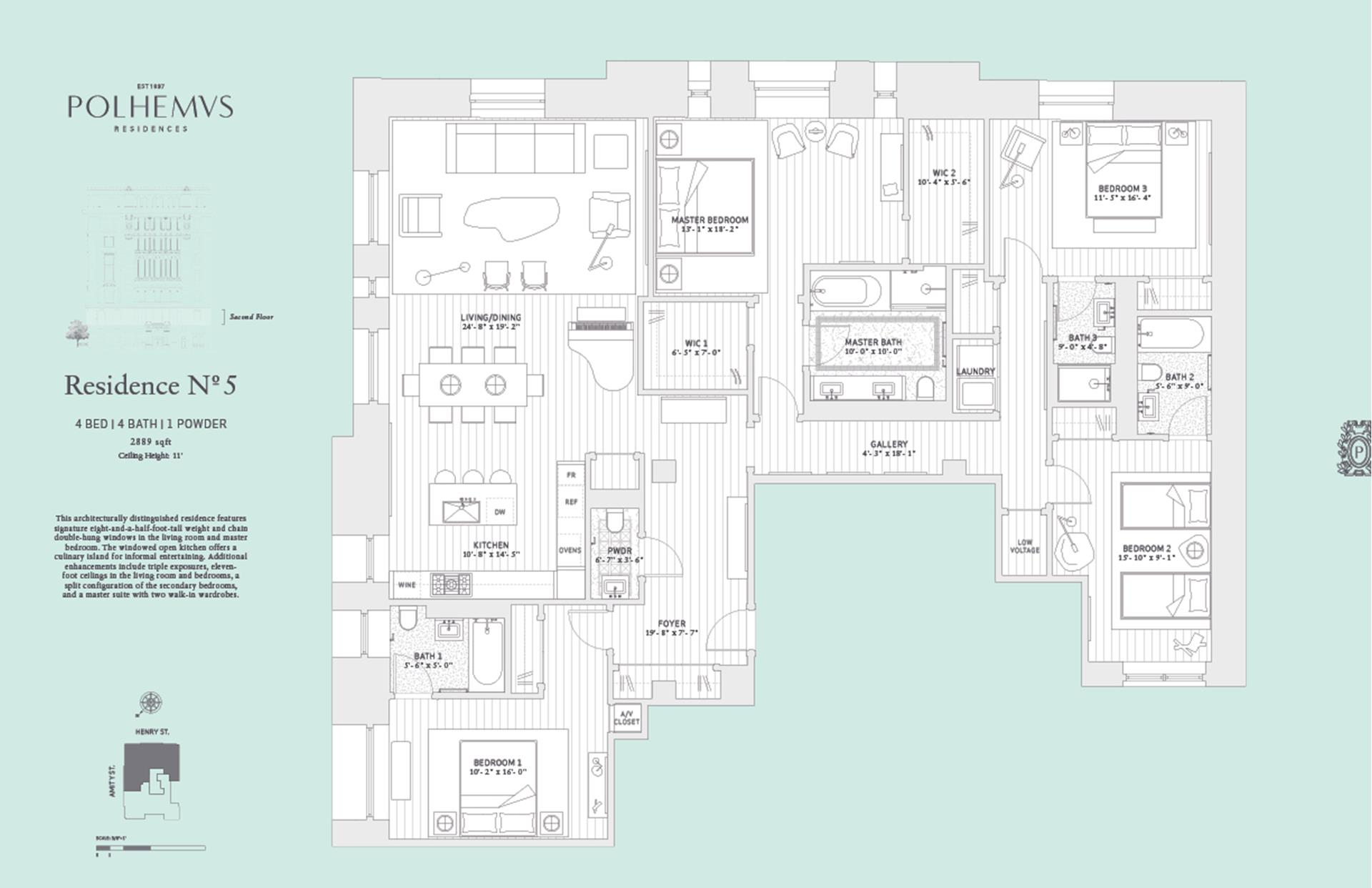 Floor plan of Polhemus, 100 Amity St, RESIDENCE5 - Cobble Hill, New York