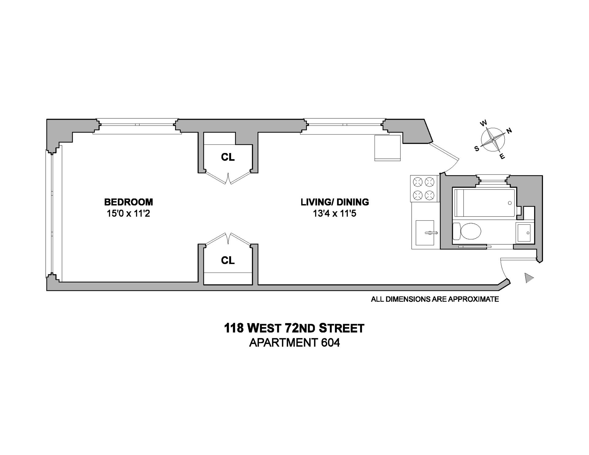 Floor plan of 118 West 72nd St, 604 - Upper West Side, New York