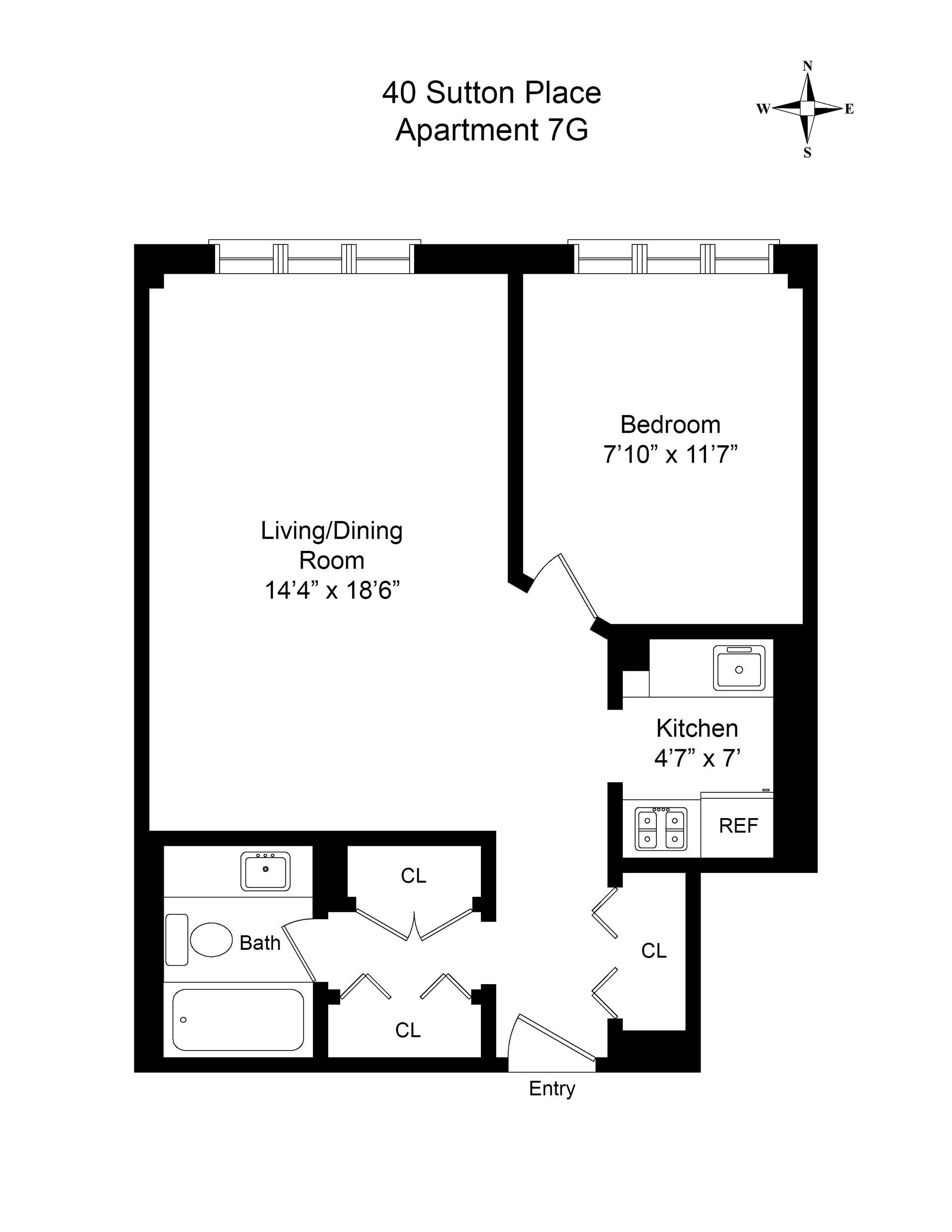 Floor plan of 40 Sutton Pl, 7G - Sutton Area, New York