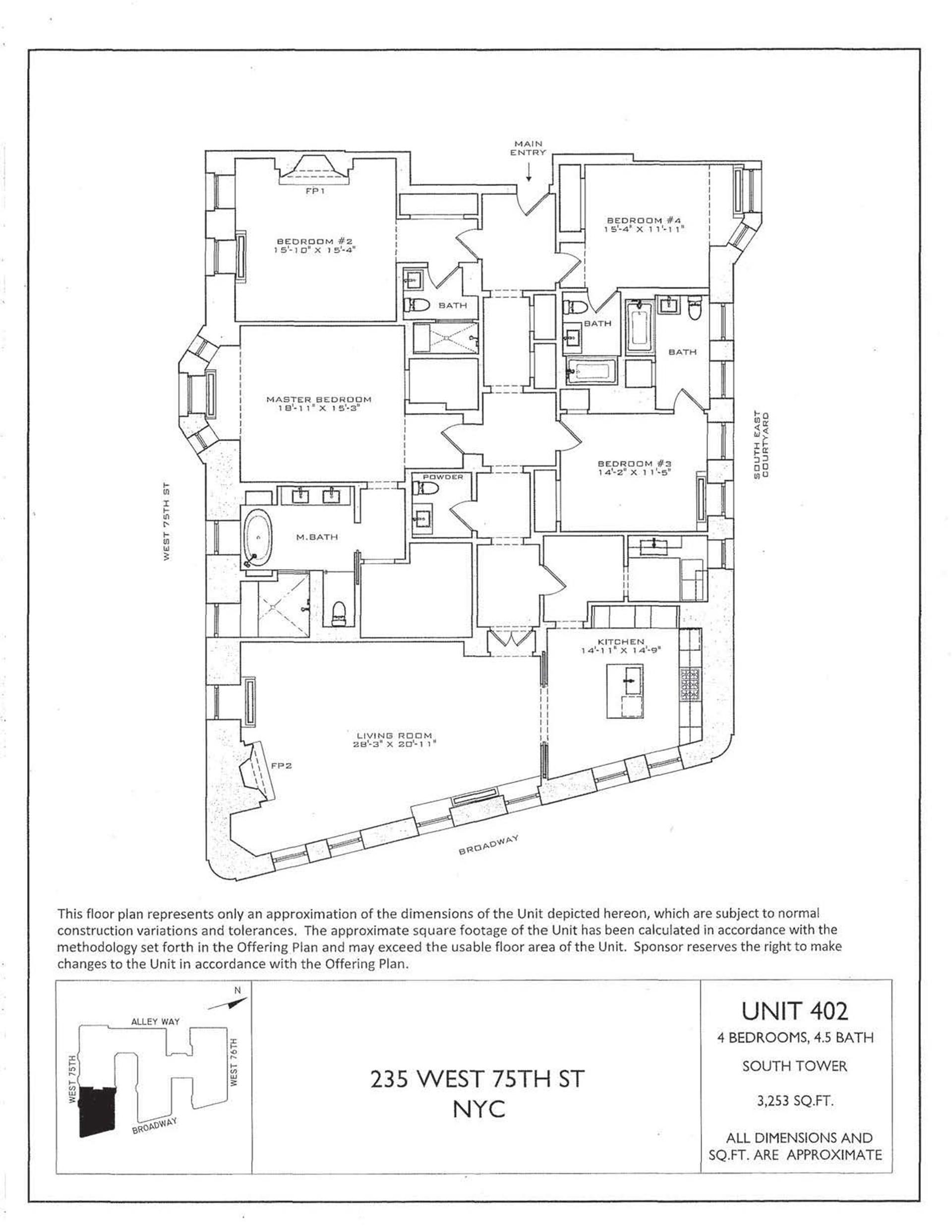Floor plan of The Astor, 235 West 75th St, 402 - Upper West Side, New York