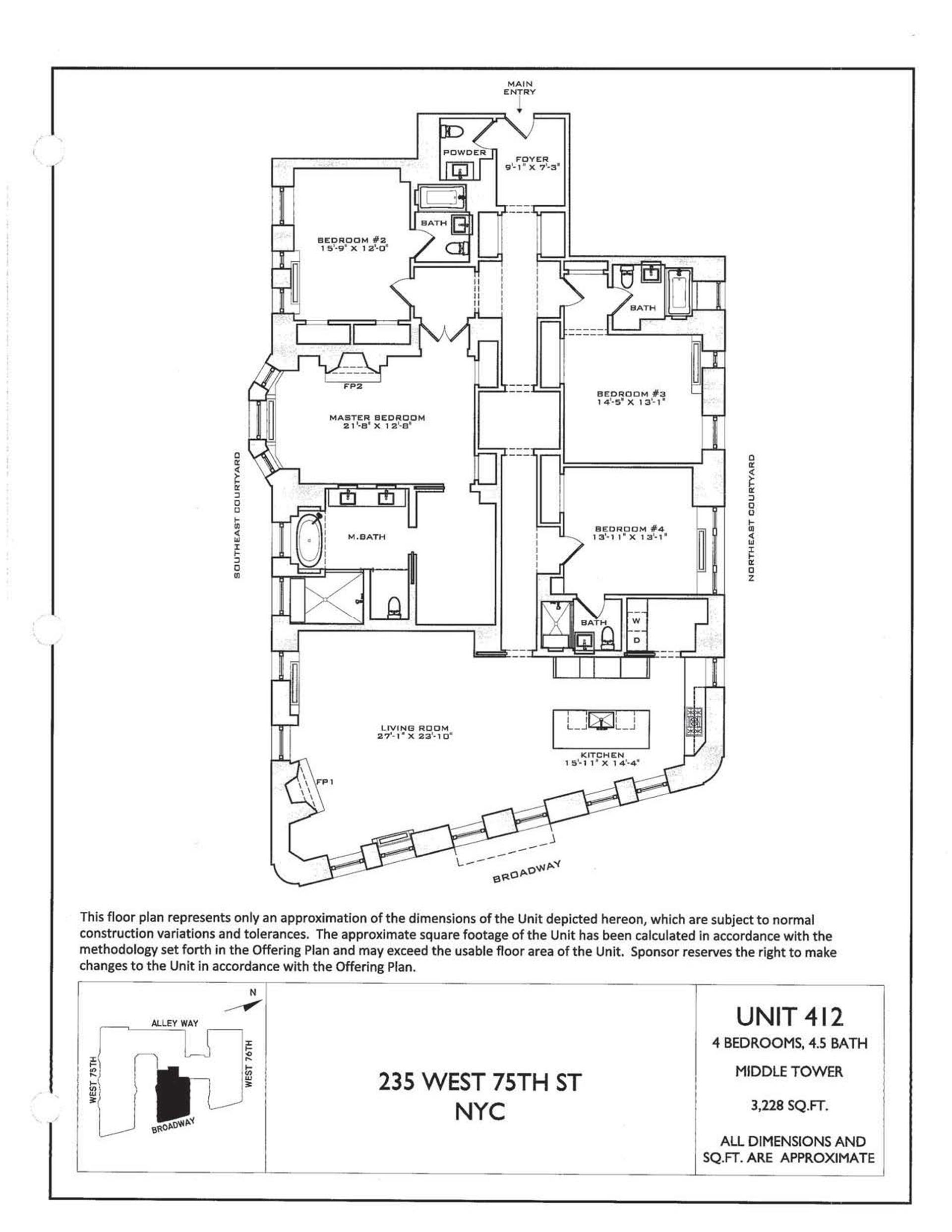 Floor plan of The Astor, 235 West 75th St, 412 - Upper West Side, New York