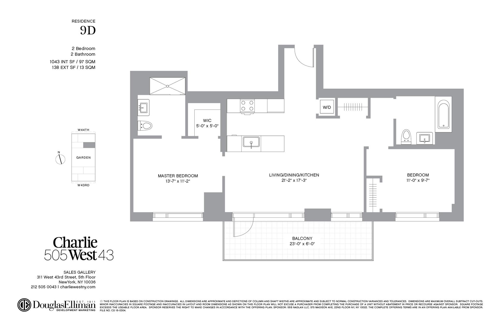 Floor plan of 505 West 43rd St, 9D - Clinton, New York