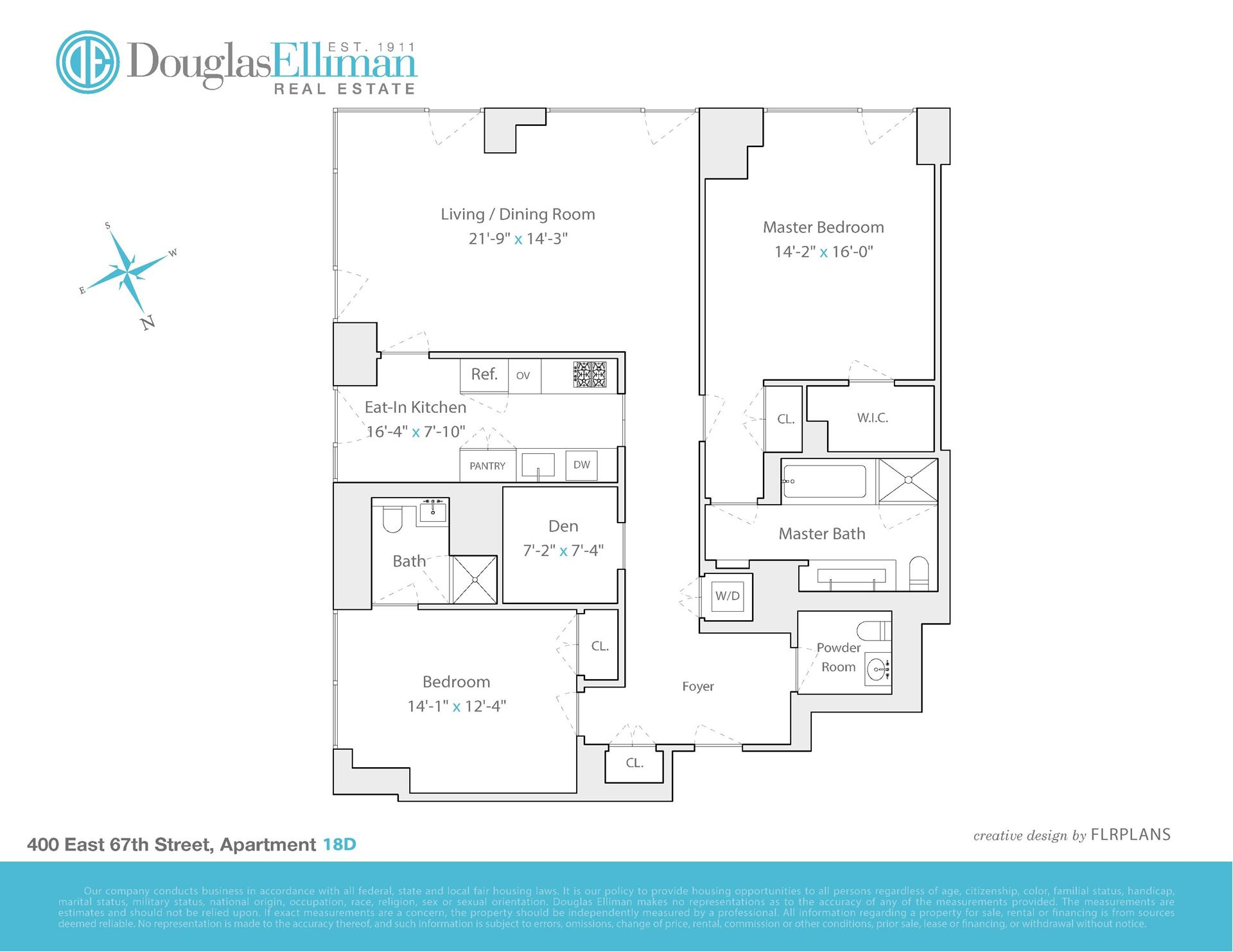 Floor plan of The Laurel, 400 East 67th St, 18D - Upper East Side, New York