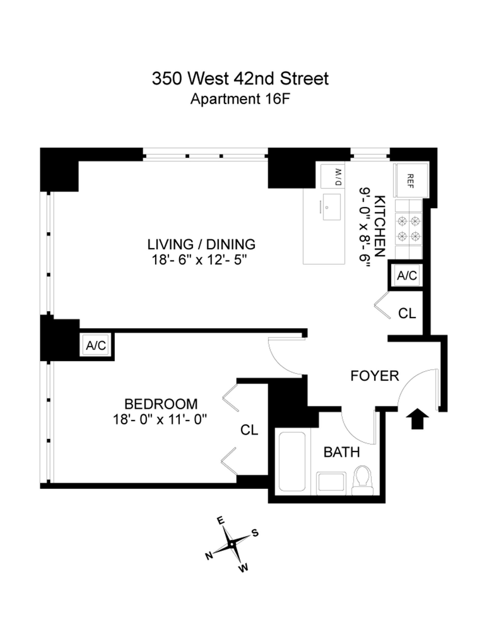 Floor plan of 350 West 42nd St, 16F - Clinton, New York