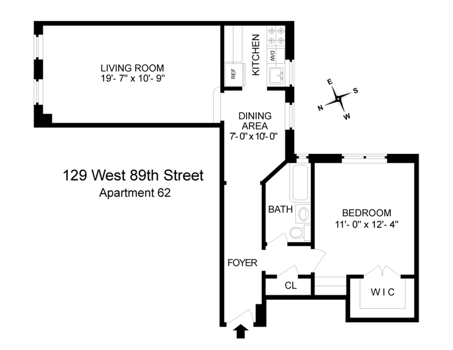 Floor plan of 129 West 89th St, 62 - Upper West Side, New York