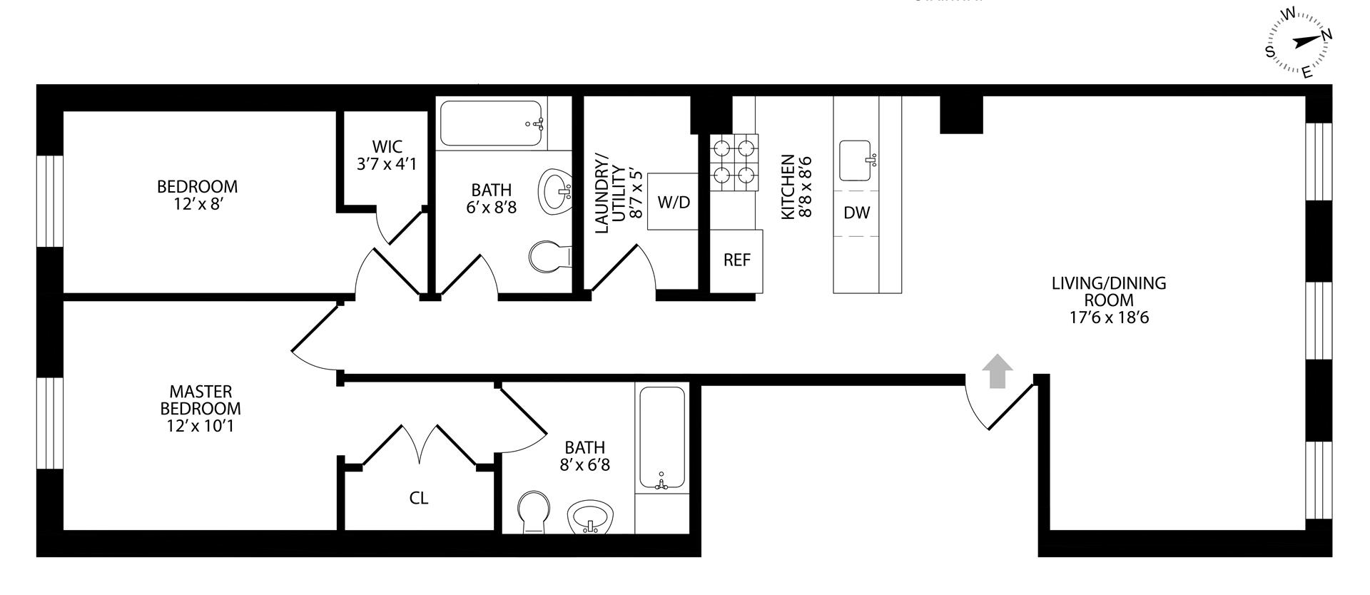Floor plan of 96 4th Pl, 2 - Carroll Gardens, New York