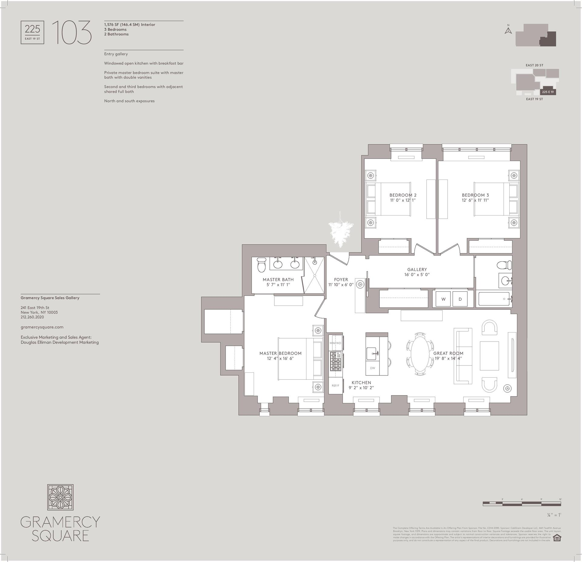 Floor plan of Gramercy Square, 225 East 19th St, 103 - Gramercy - Union Square, New York
