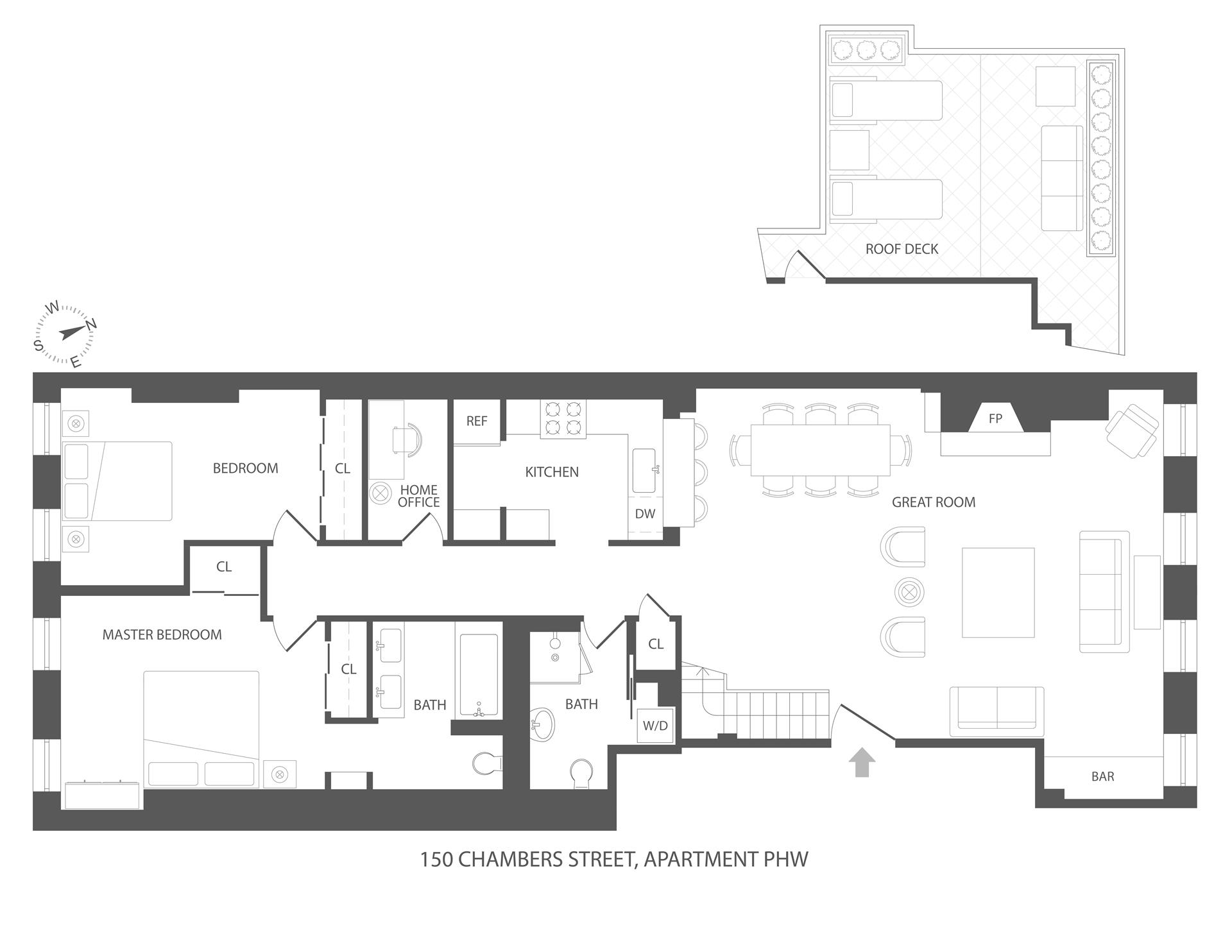Floor plan of 150 Chambers St, PH5W - TriBeCa, New York