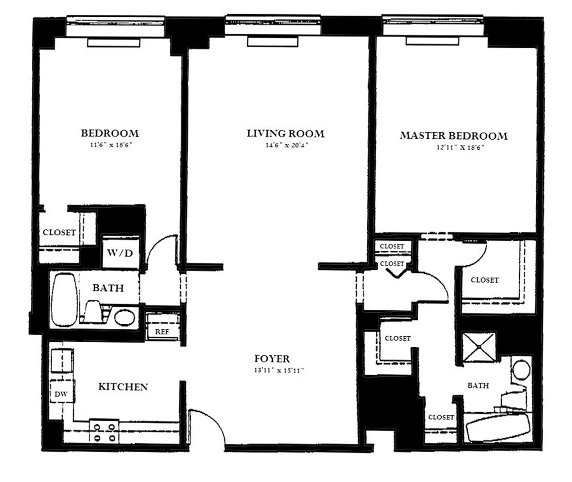 Floor plan of 120 East 87th St, P8B - Carnegie Hill, New York