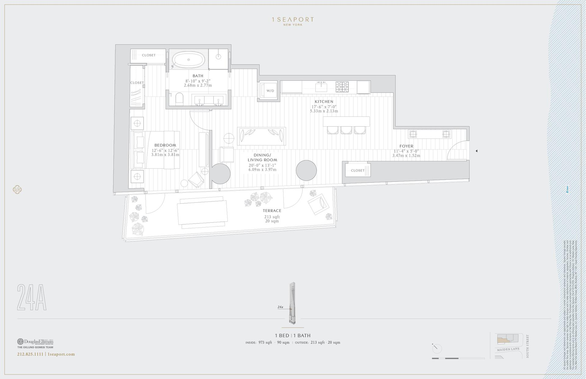 Floor plan of 1 Seaport, 161 Maiden Ln, 24A - Financial District, New York