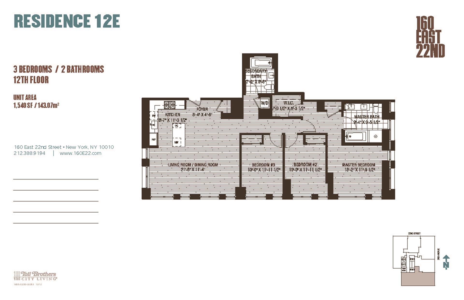 Floor plan of 160 East 22nd St, 12E - Gramercy - Union Square, New York