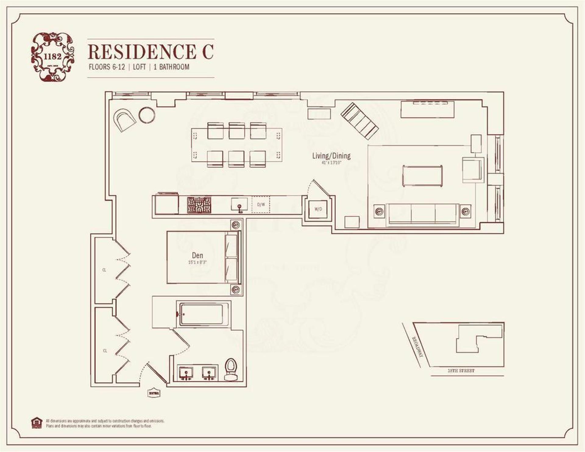 Floor plan of 1182 Broadway, 6C - Flatiron District, New York
