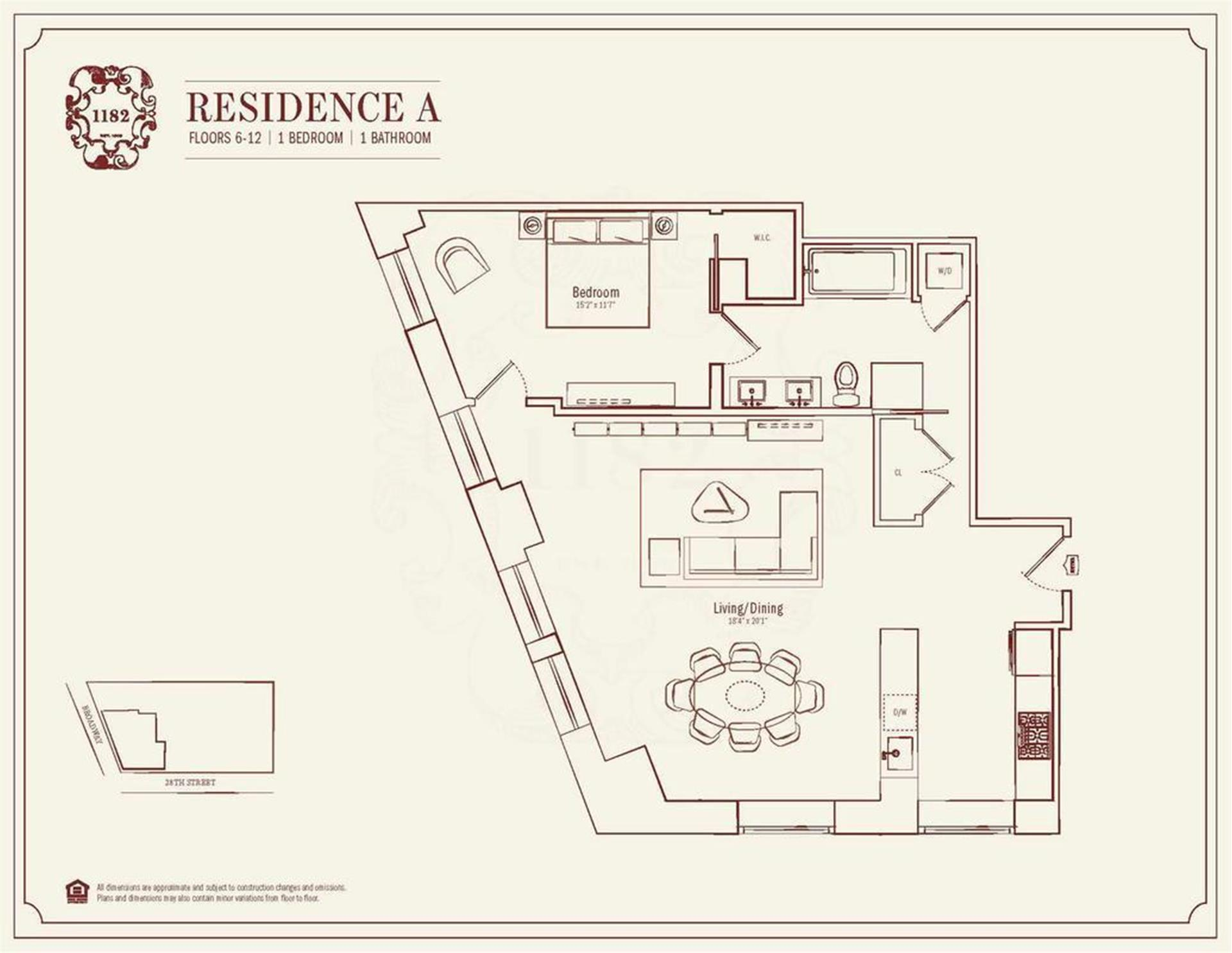 Floor plan of 1182 Broadway, 7A - Flatiron District, New York