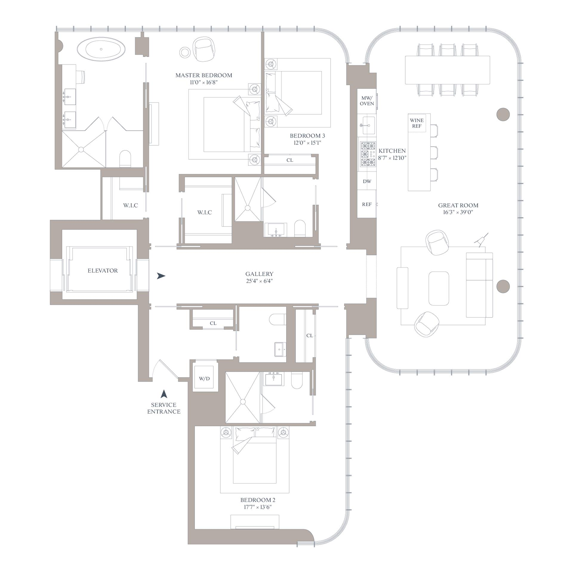 Floor plan of 565 Broome St, N18B - SoHo - Nolita, New York