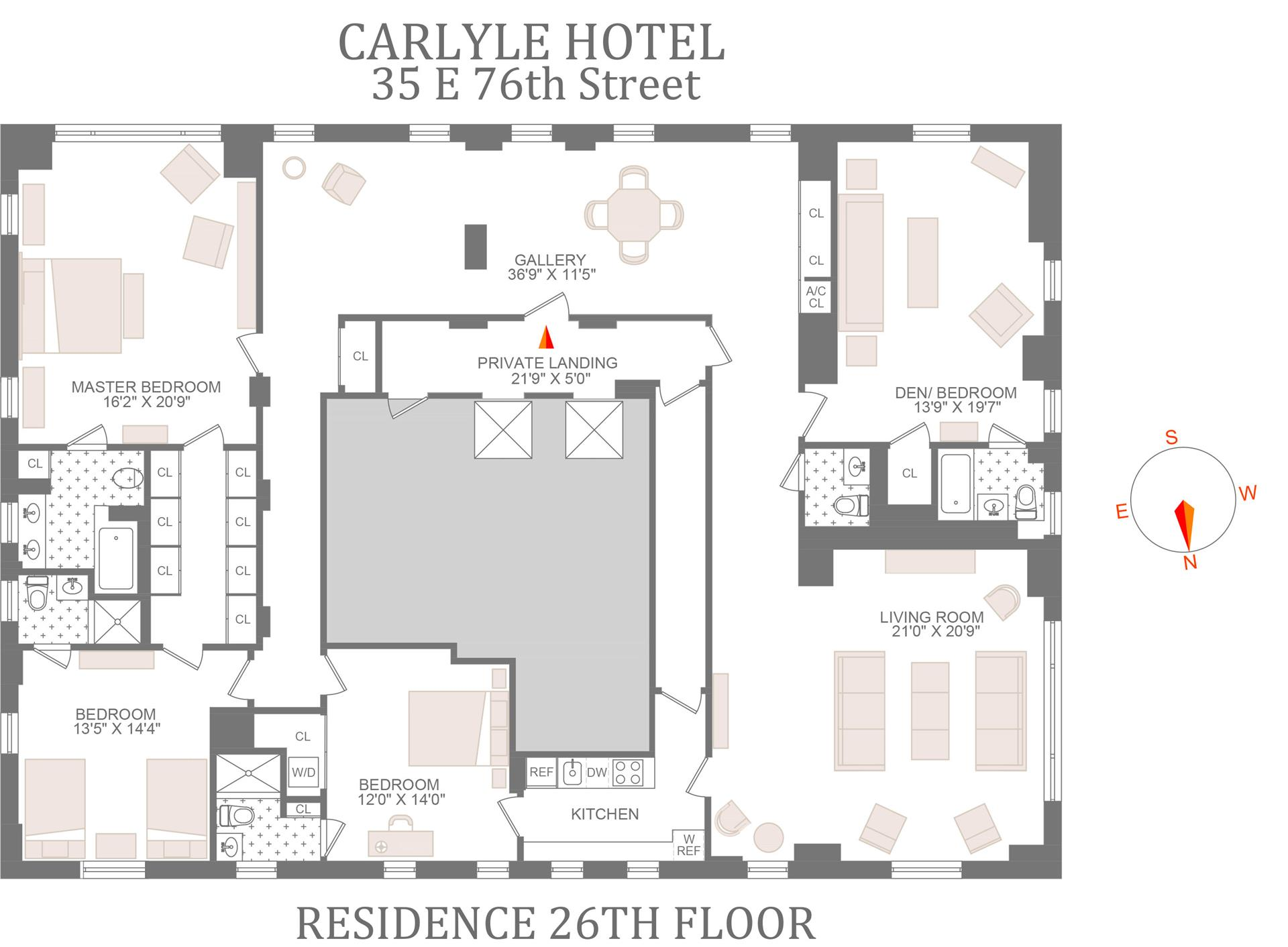 Floor plan of THE CARLYLE, 35 East 76th St, 26FL - Upper East Side, New York