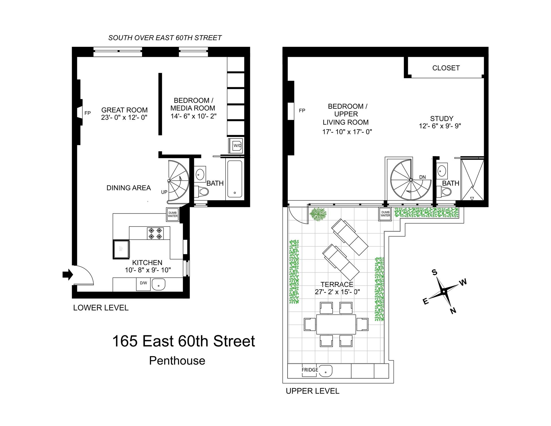 Floor plan of 165 E 60th St. Owners, In, 165 East 60th St, PENTHOUSE - Upper East Side, New York